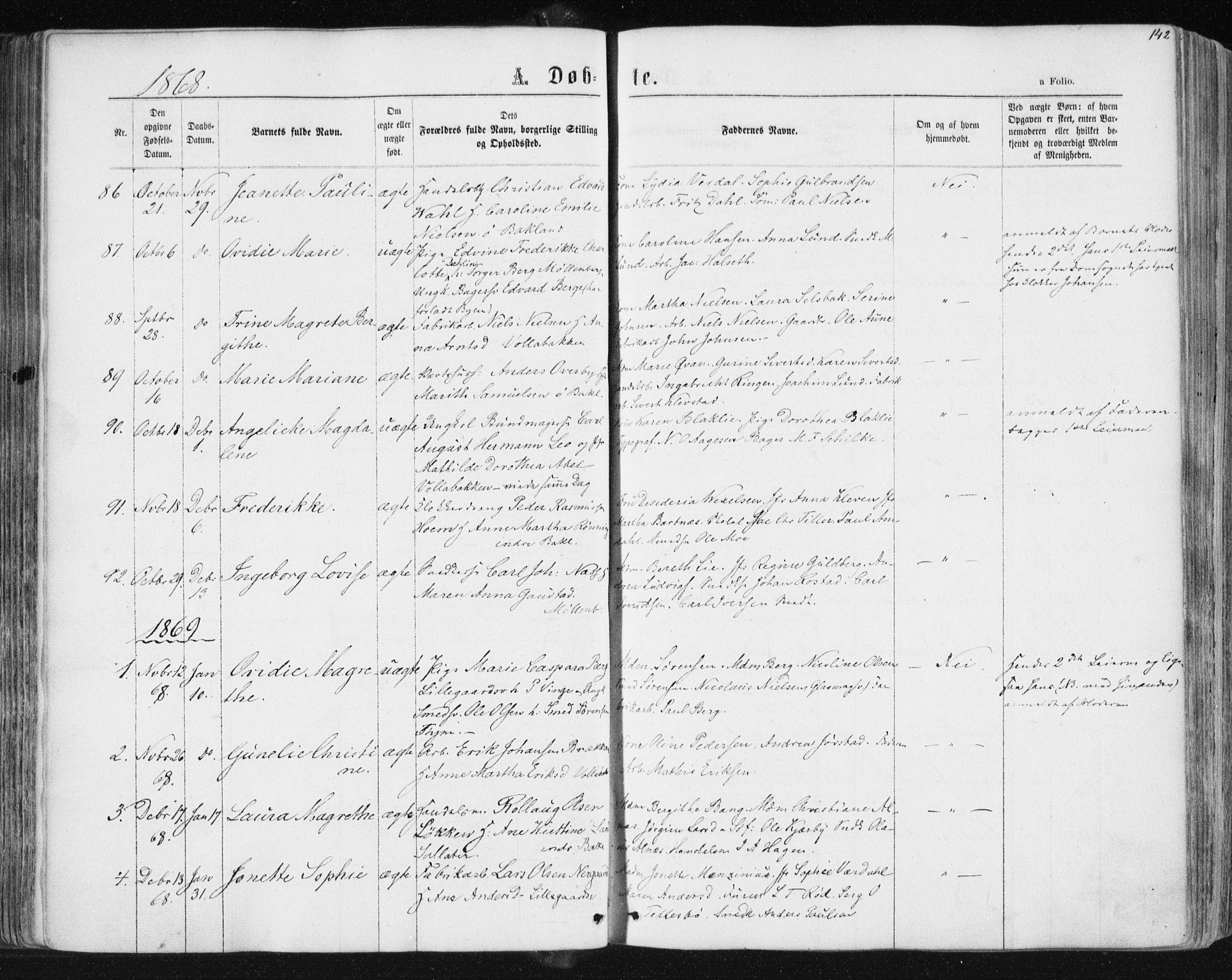 SAT, Ministerialprotokoller, klokkerbøker og fødselsregistre - Sør-Trøndelag, 604/L0186: Ministerialbok nr. 604A07, 1866-1877, s. 142