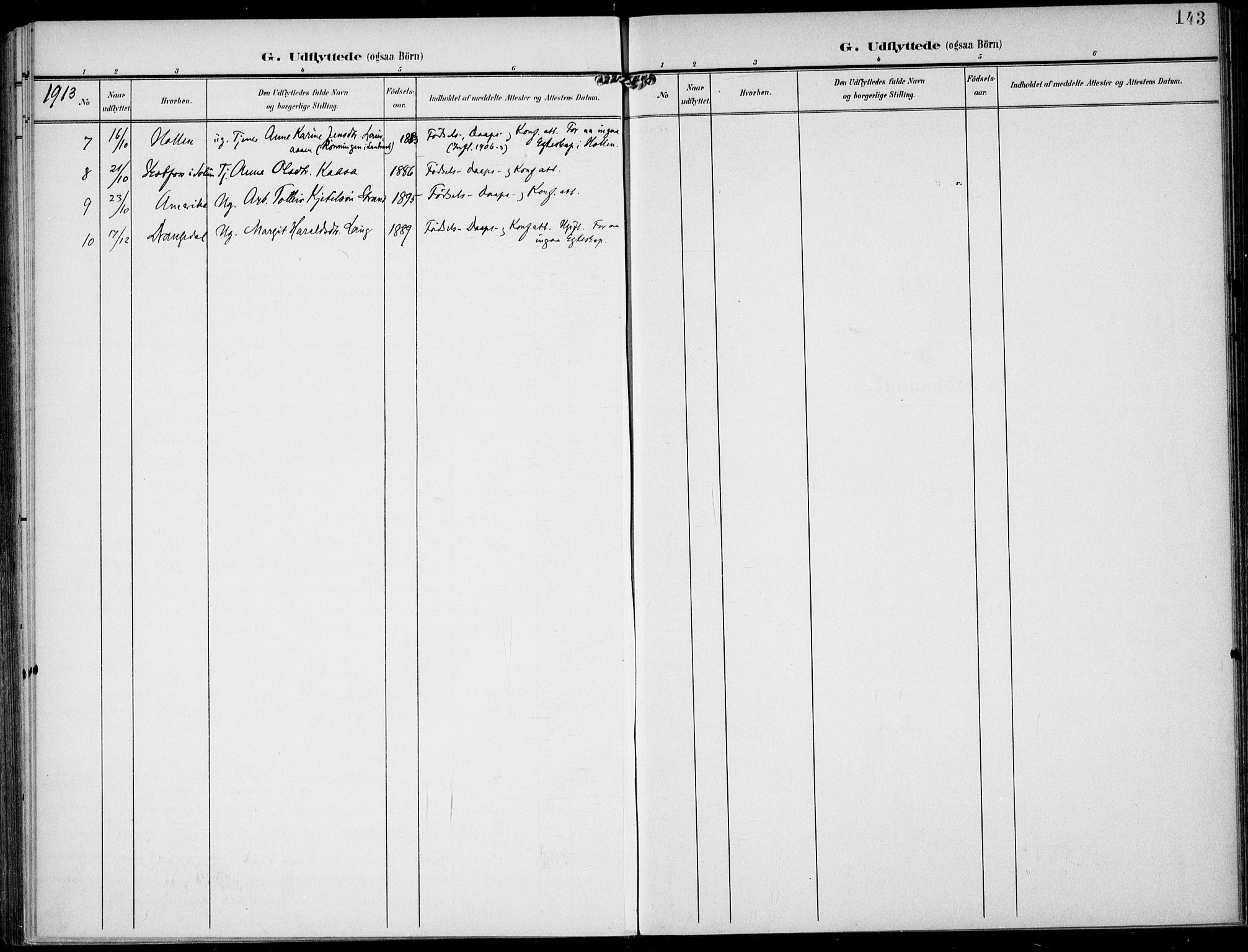 SAKO, Lunde kirkebøker, F/Fa/L0004: Ministerialbok nr. I 4, 1902-1913, s. 143
