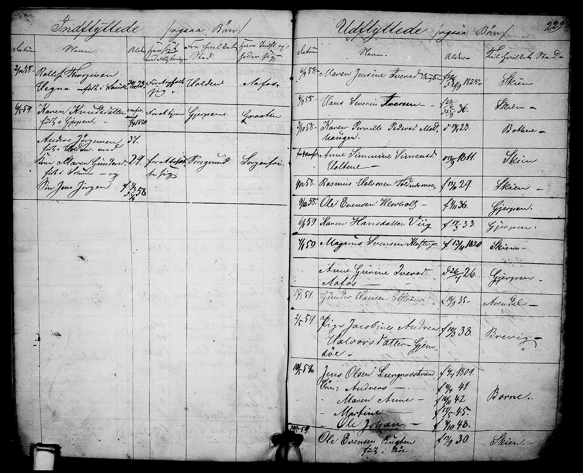 SAKO, Solum kirkebøker, G/Ga/L0003: Klokkerbok nr. I 3, 1848-1859, s. 229