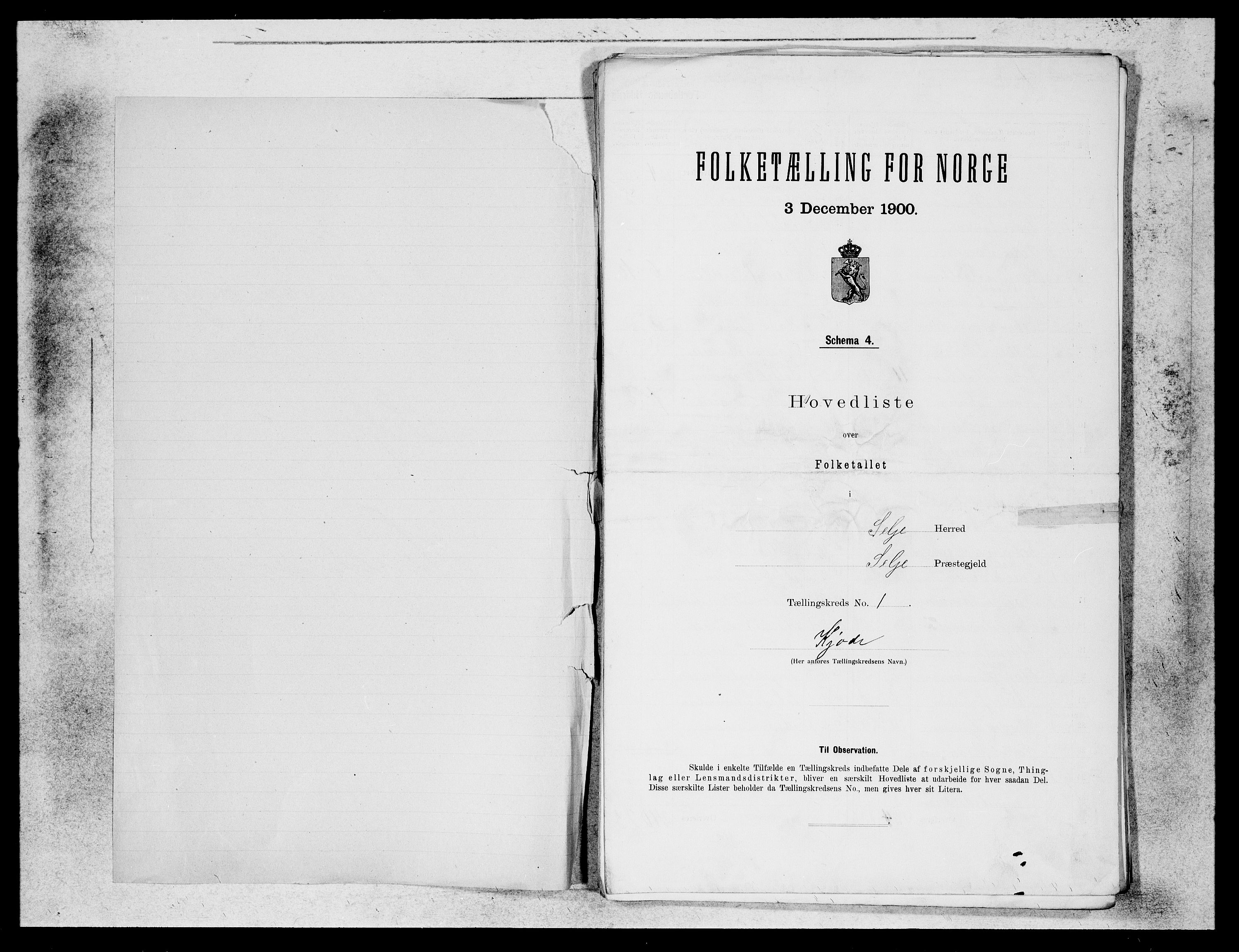 SAB, Folketelling 1900 for 1441 Selje herred, 1900, s. 1