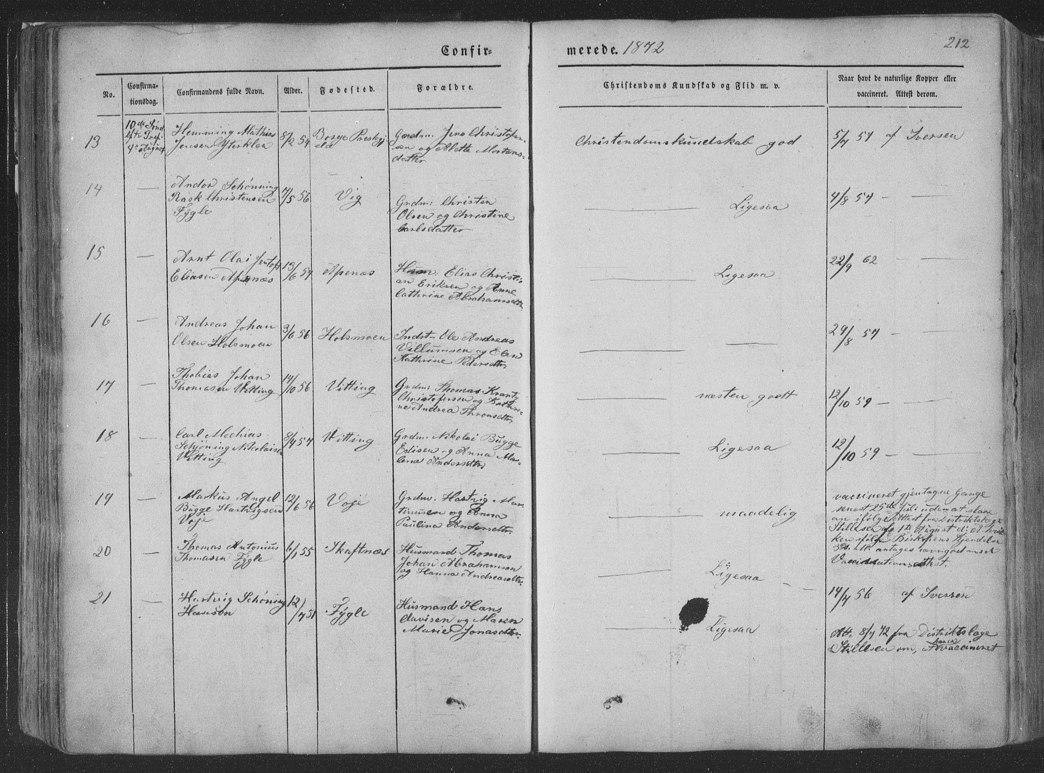 SAT, Ministerialprotokoller, klokkerbøker og fødselsregistre - Nordland, 881/L1165: Klokkerbok nr. 881C02, 1854-1876, s. 212