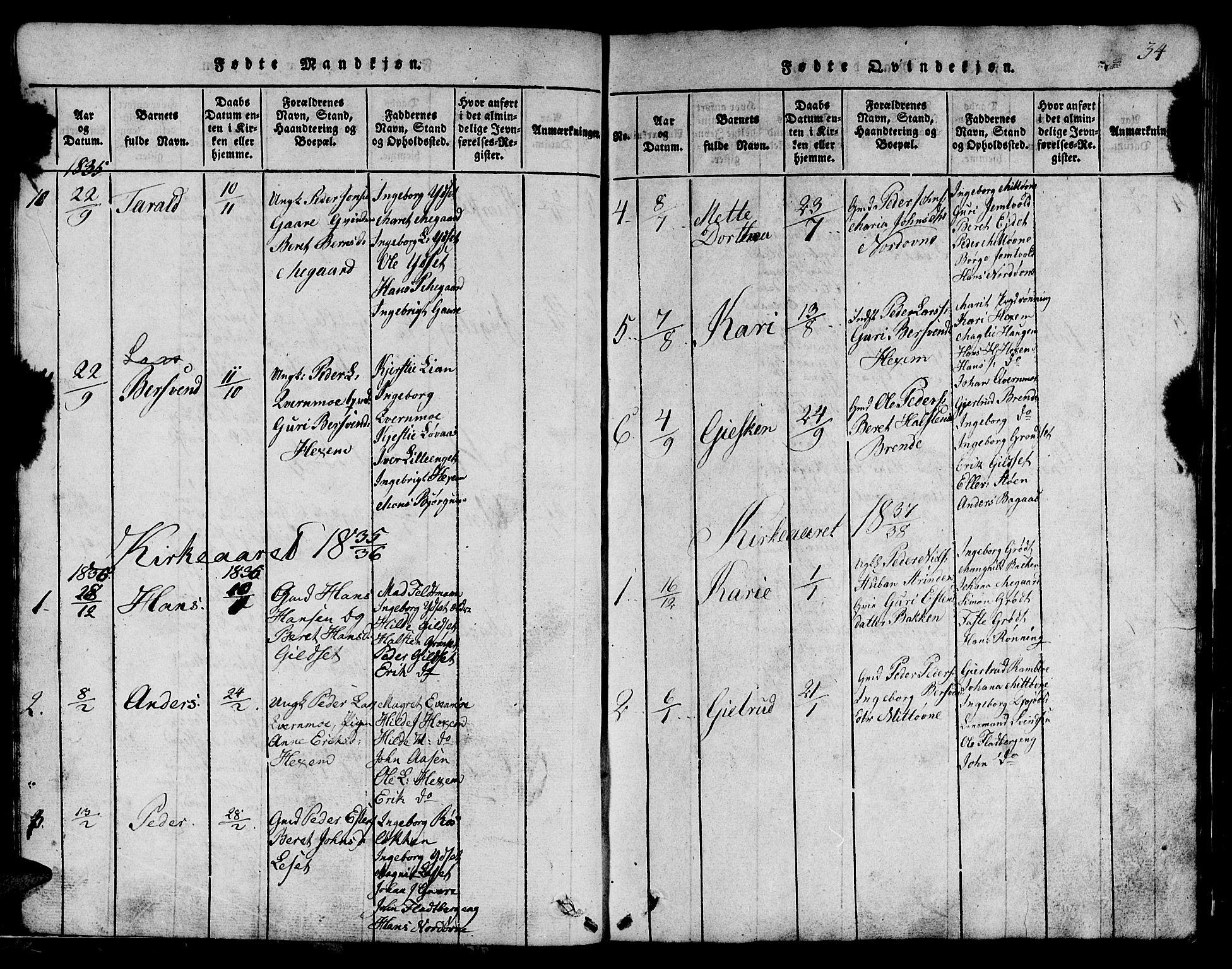 SAT, Ministerialprotokoller, klokkerbøker og fødselsregistre - Sør-Trøndelag, 685/L0976: Klokkerbok nr. 685C01, 1817-1878, s. 34