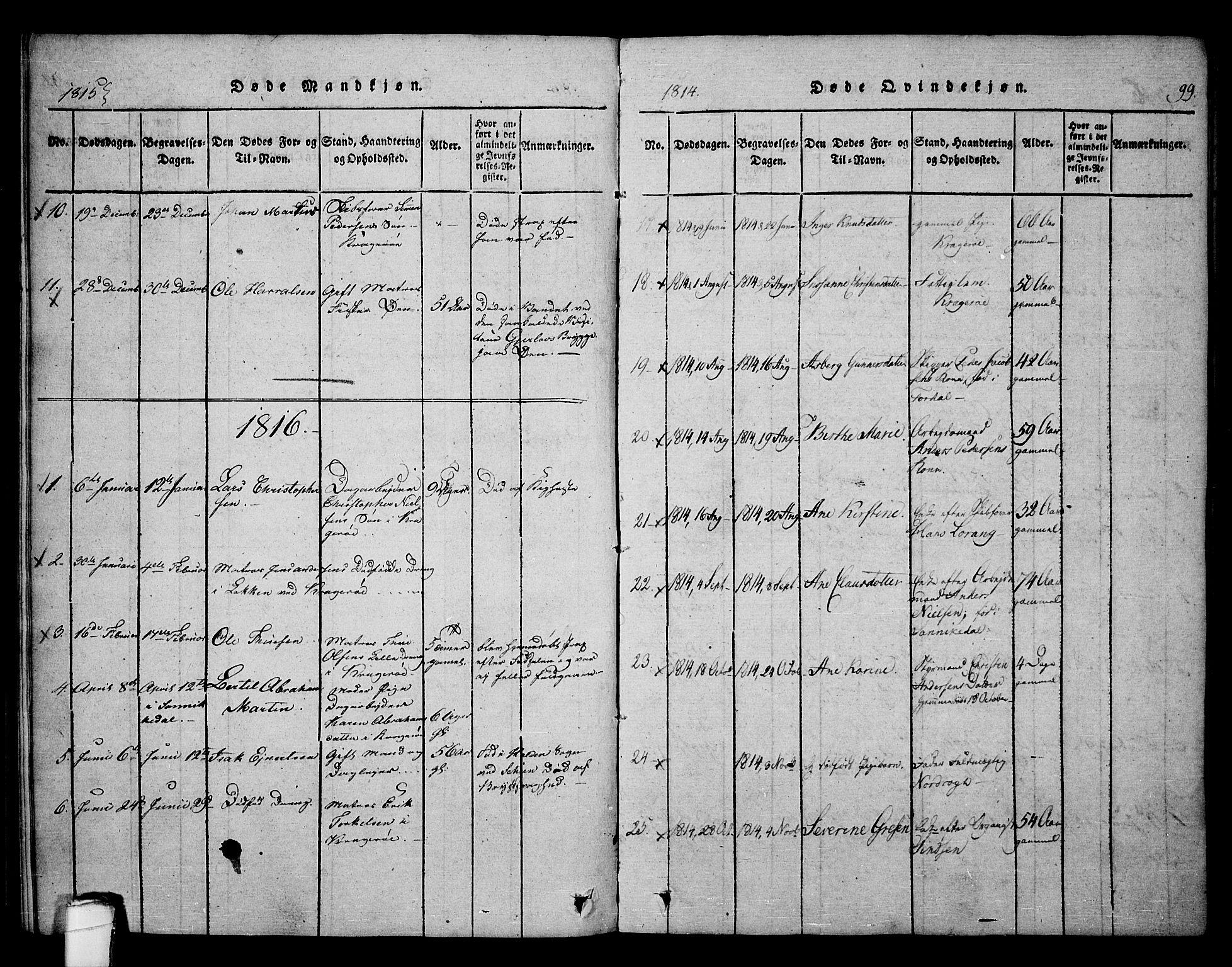 SAKO, Kragerø kirkebøker, F/Fa/L0004: Ministerialbok nr. 4, 1814-1831, s. 99