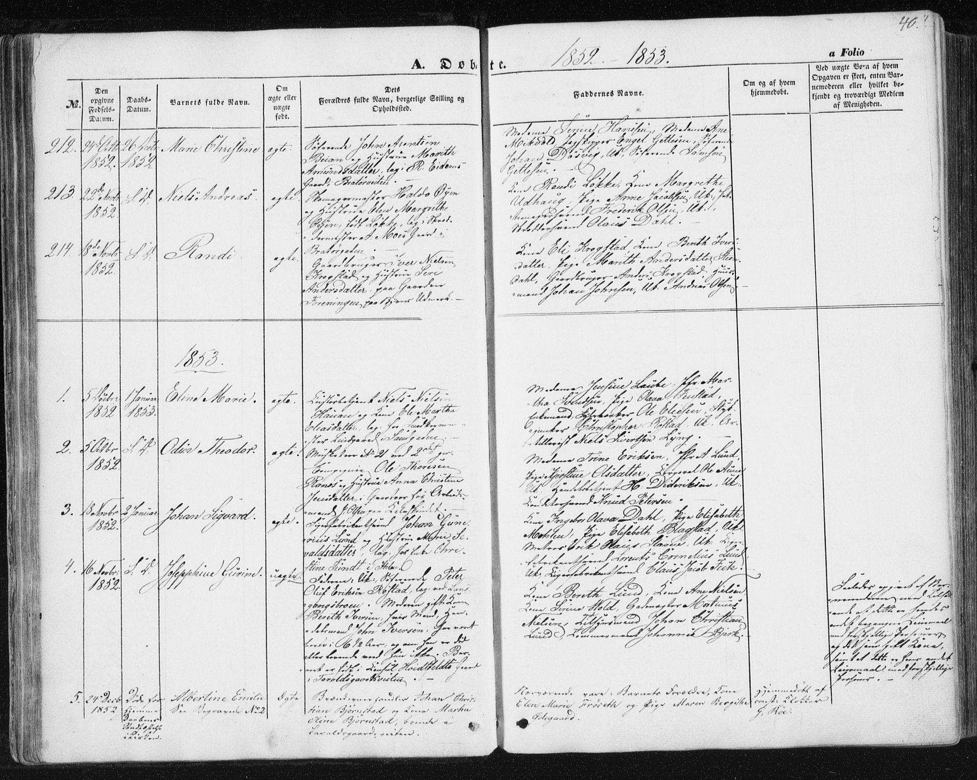 SAT, Ministerialprotokoller, klokkerbøker og fødselsregistre - Sør-Trøndelag, 602/L0112: Ministerialbok nr. 602A10, 1848-1859, s. 40