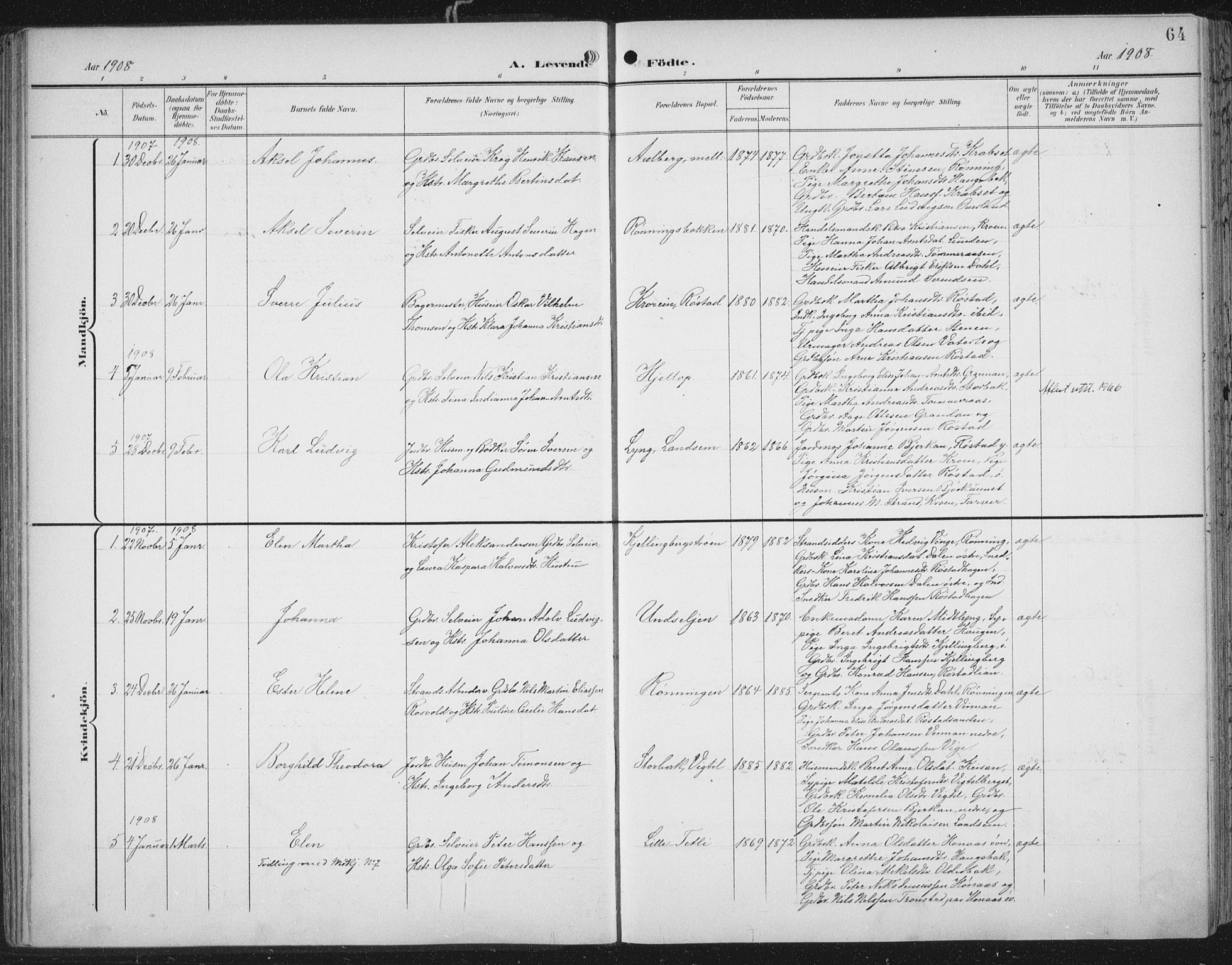 SAT, Ministerialprotokoller, klokkerbøker og fødselsregistre - Nord-Trøndelag, 701/L0011: Ministerialbok nr. 701A11, 1899-1915, s. 64