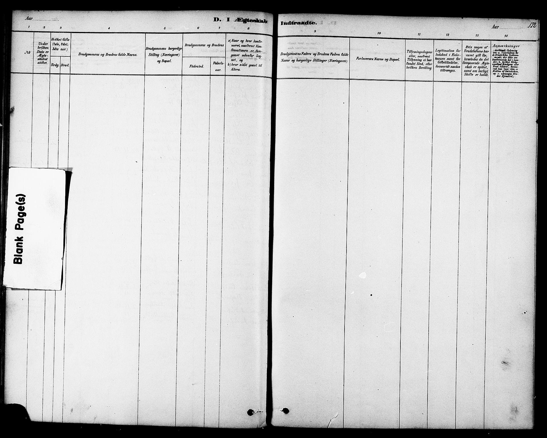 SAT, Ministerialprotokoller, klokkerbøker og fødselsregistre - Sør-Trøndelag, 692/L1105: Ministerialbok nr. 692A05, 1878-1890, s. 122