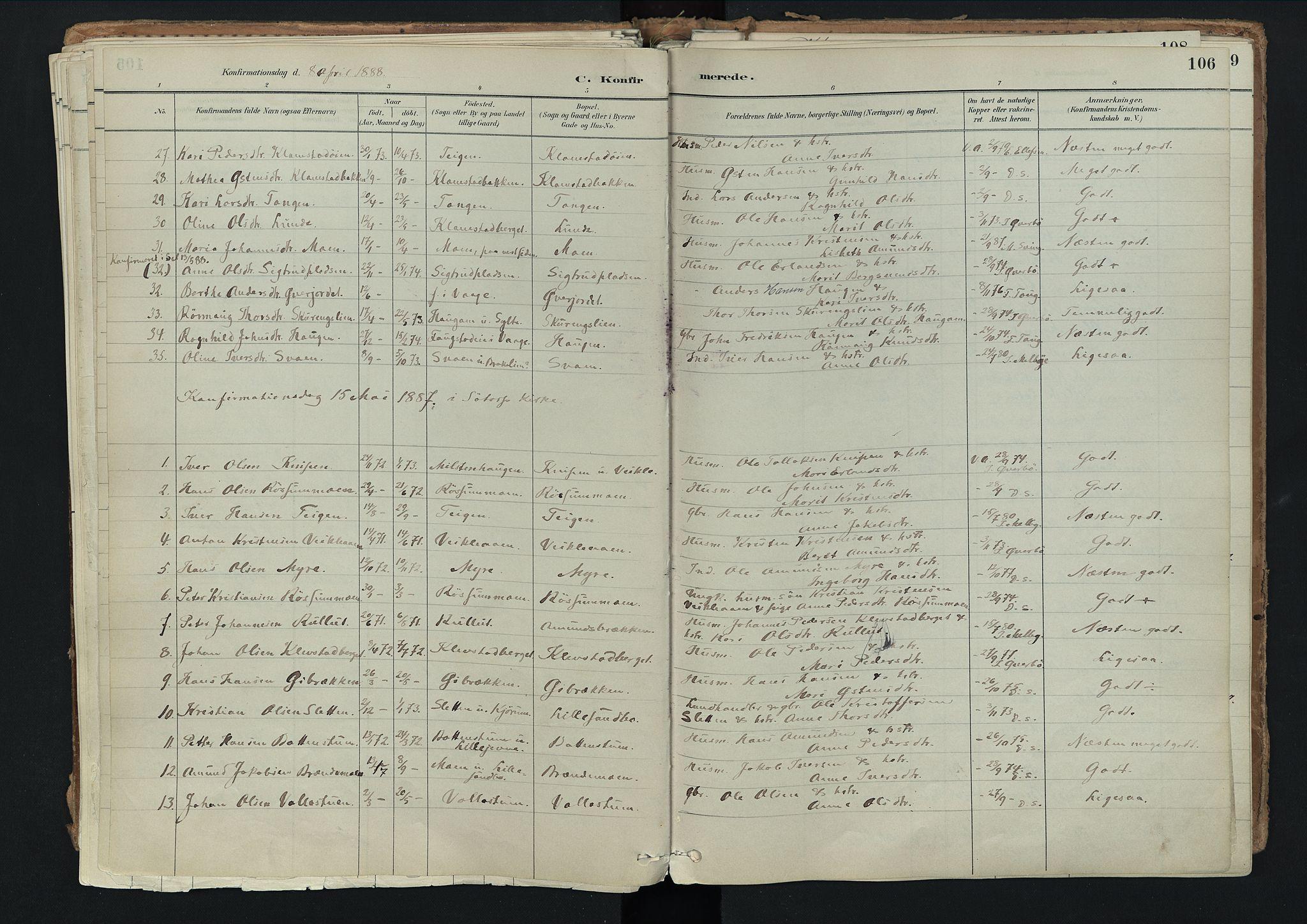 SAH, Nord-Fron prestekontor, Ministerialbok nr. 3, 1884-1914, s. 106