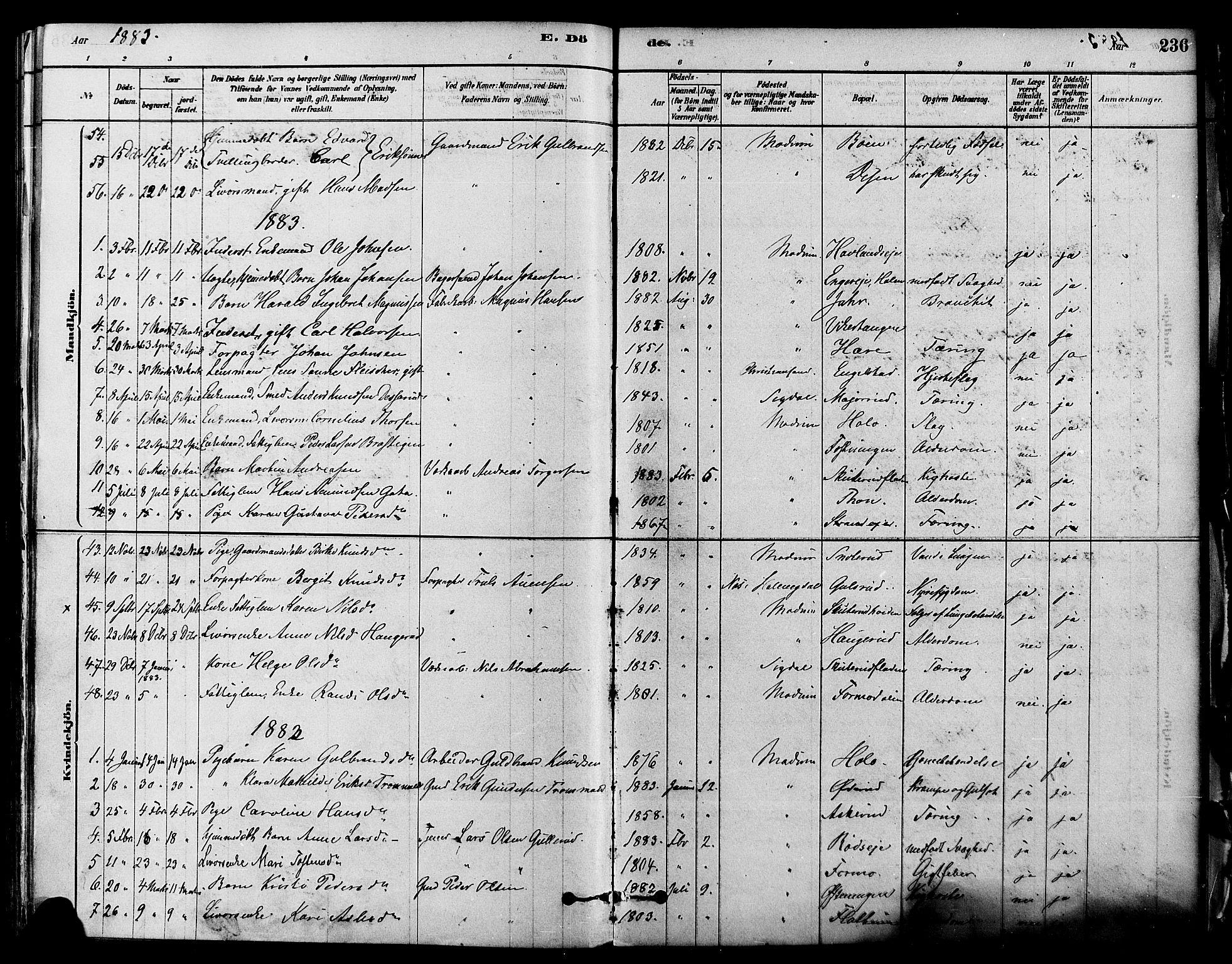 SAKO, Modum kirkebøker, F/Fa/L0011: Ministerialbok nr. 11, 1877-1889, s. 236