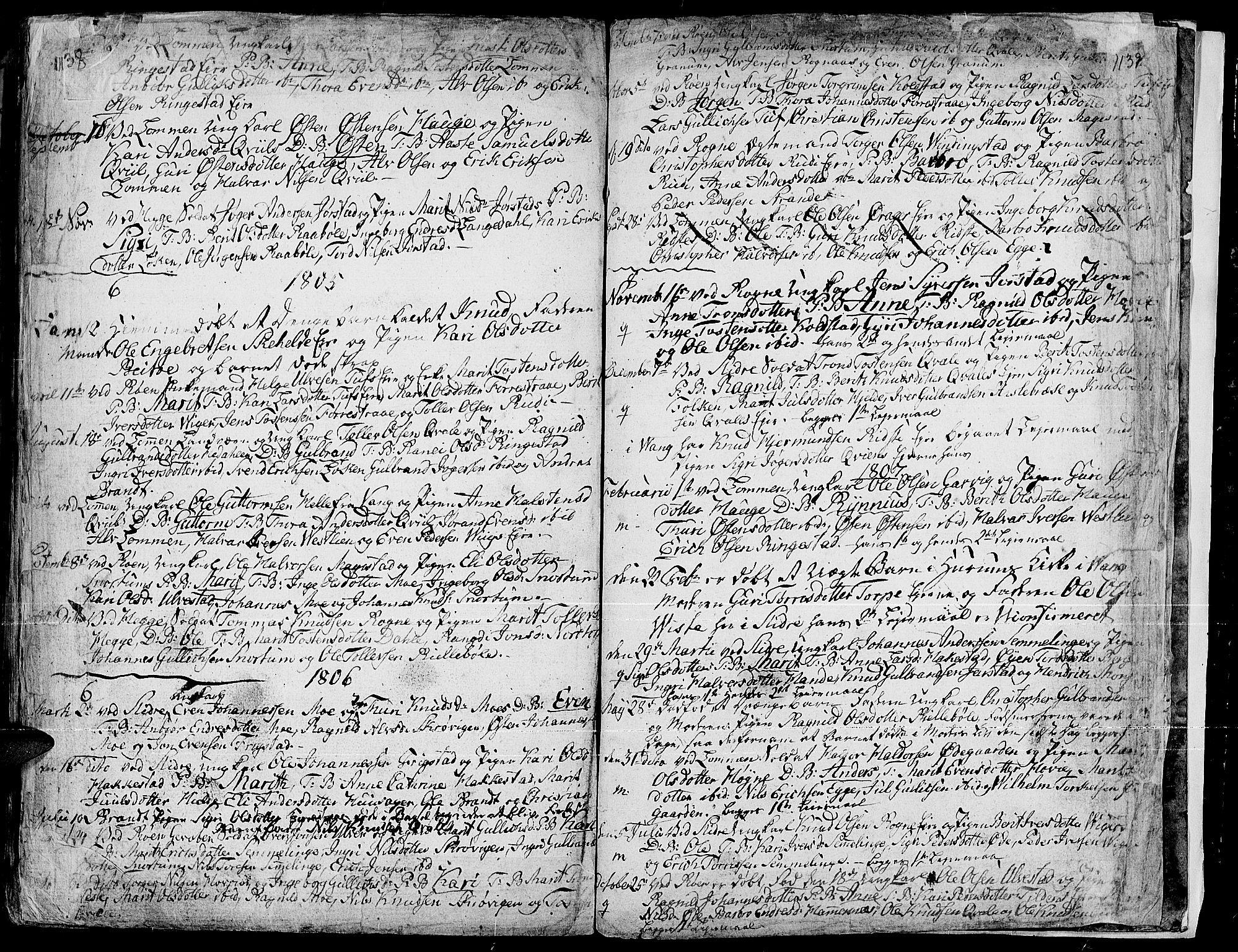SAH, Slidre prestekontor, Ministerialbok nr. 1, 1724-1814, s. 1138-1139