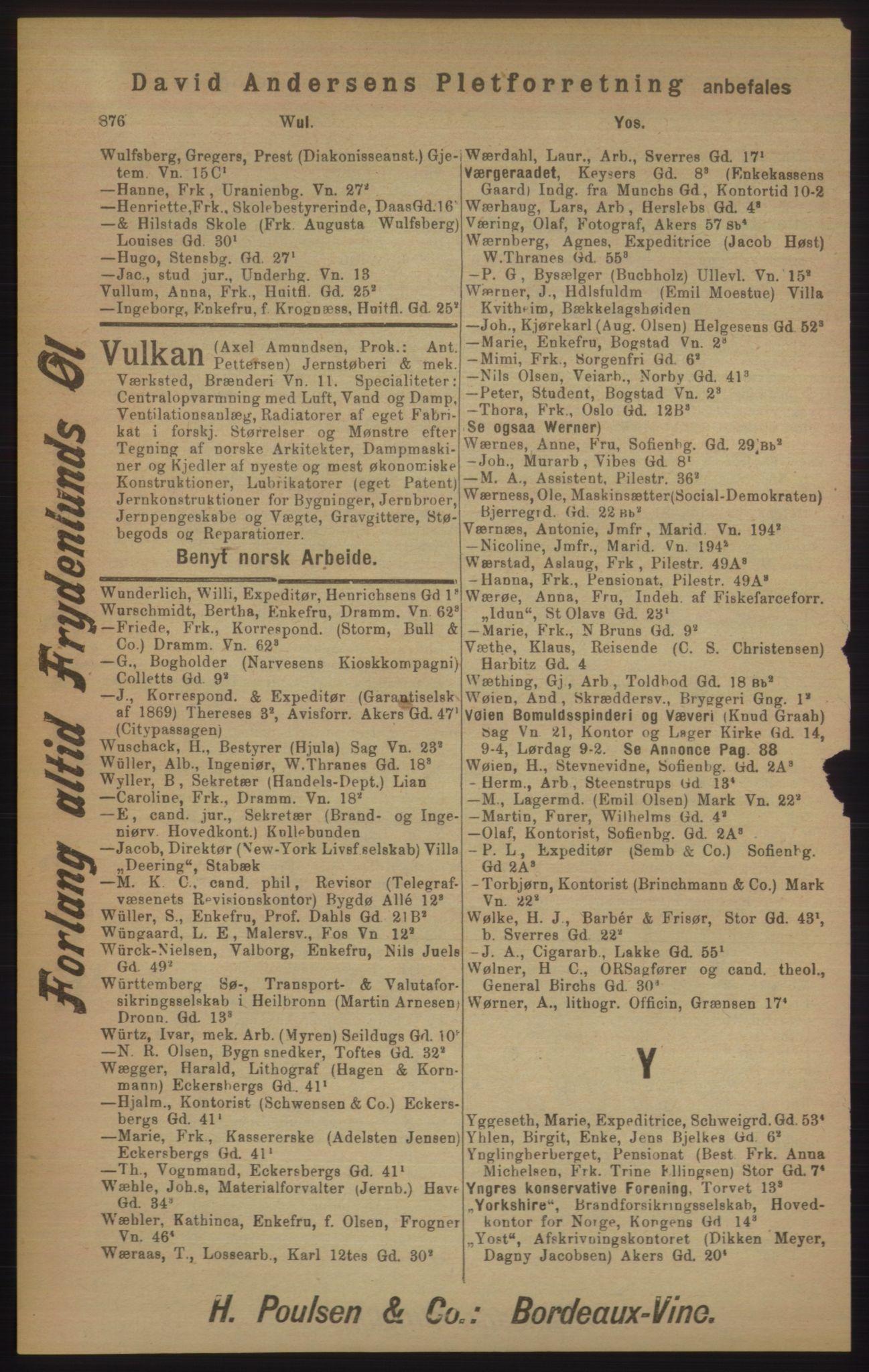 RA, Kristiania adressebok (publikasjon)*, 1905, s. 876