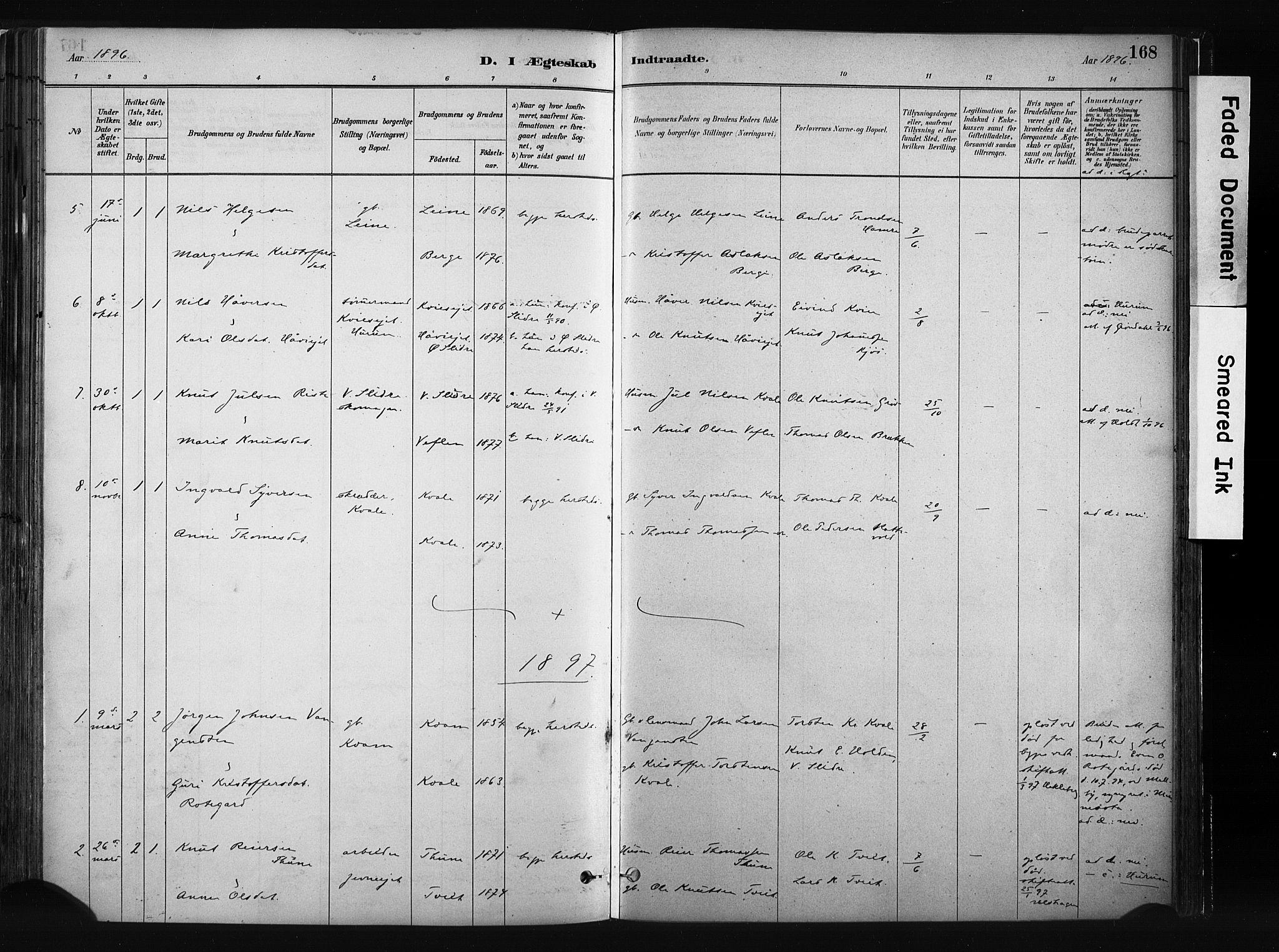 SAH, Vang prestekontor, Valdres, Ministerialbok nr. 8, 1882-1910, s. 168