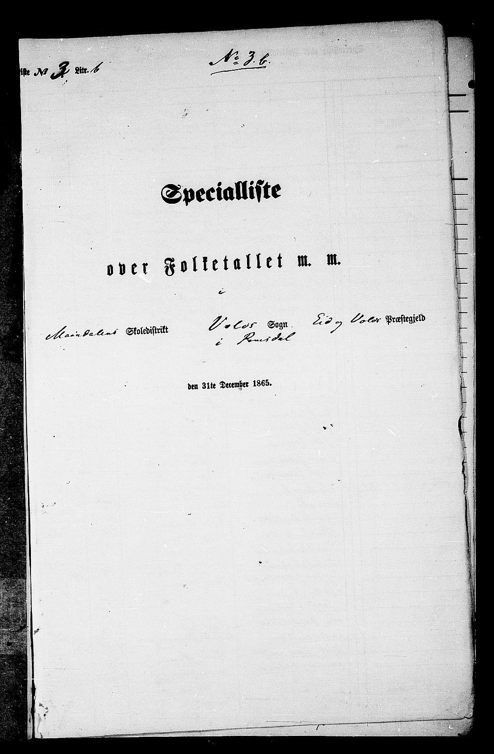 RA, Folketelling 1865 for 1537P Eid og Vold prestegjeld, 1865, s. 62