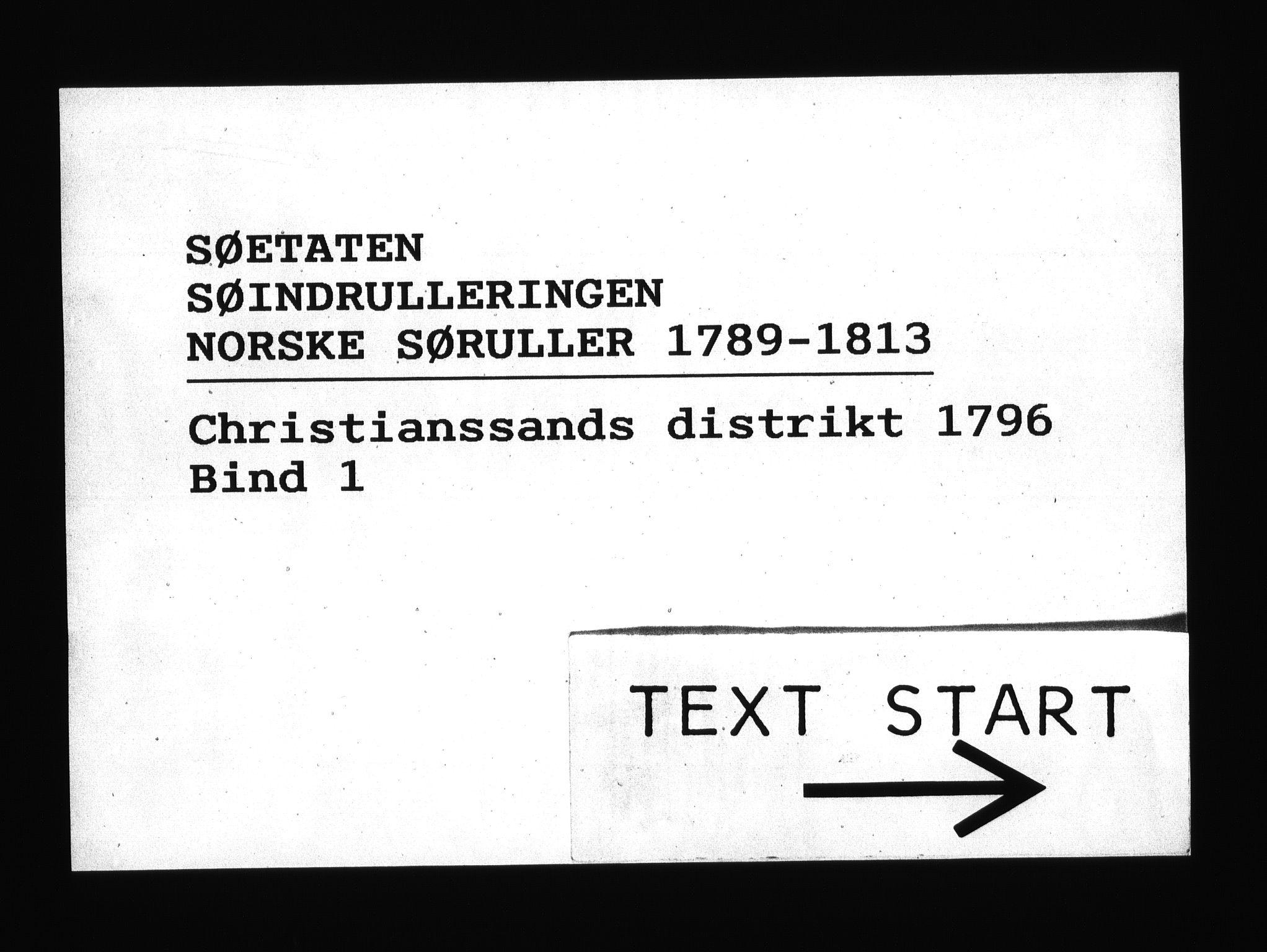 RA, Sjøetaten, F/L0026: Kristiansand distrikt, bind 1, 1796
