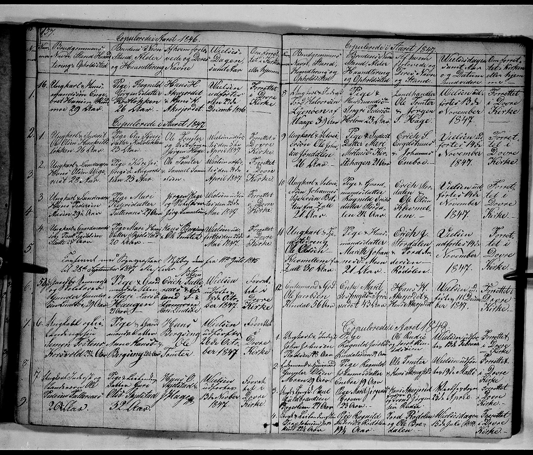 SAH, Lesja prestekontor, Klokkerbok nr. 3, 1842-1862, s. 157-158