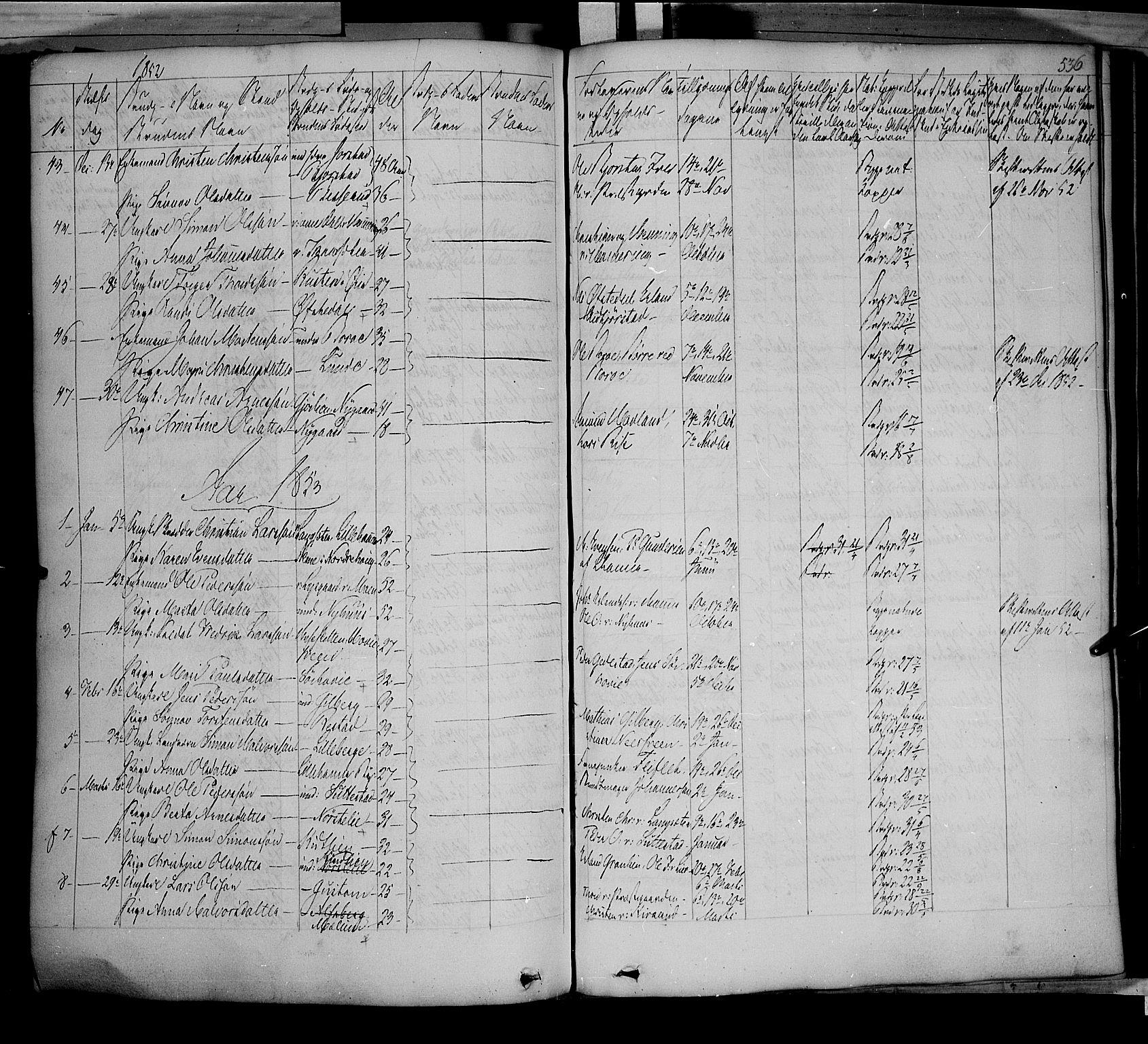 SAH, Fåberg prestekontor, Ministerialbok nr. 5, 1836-1854, s. 535-536