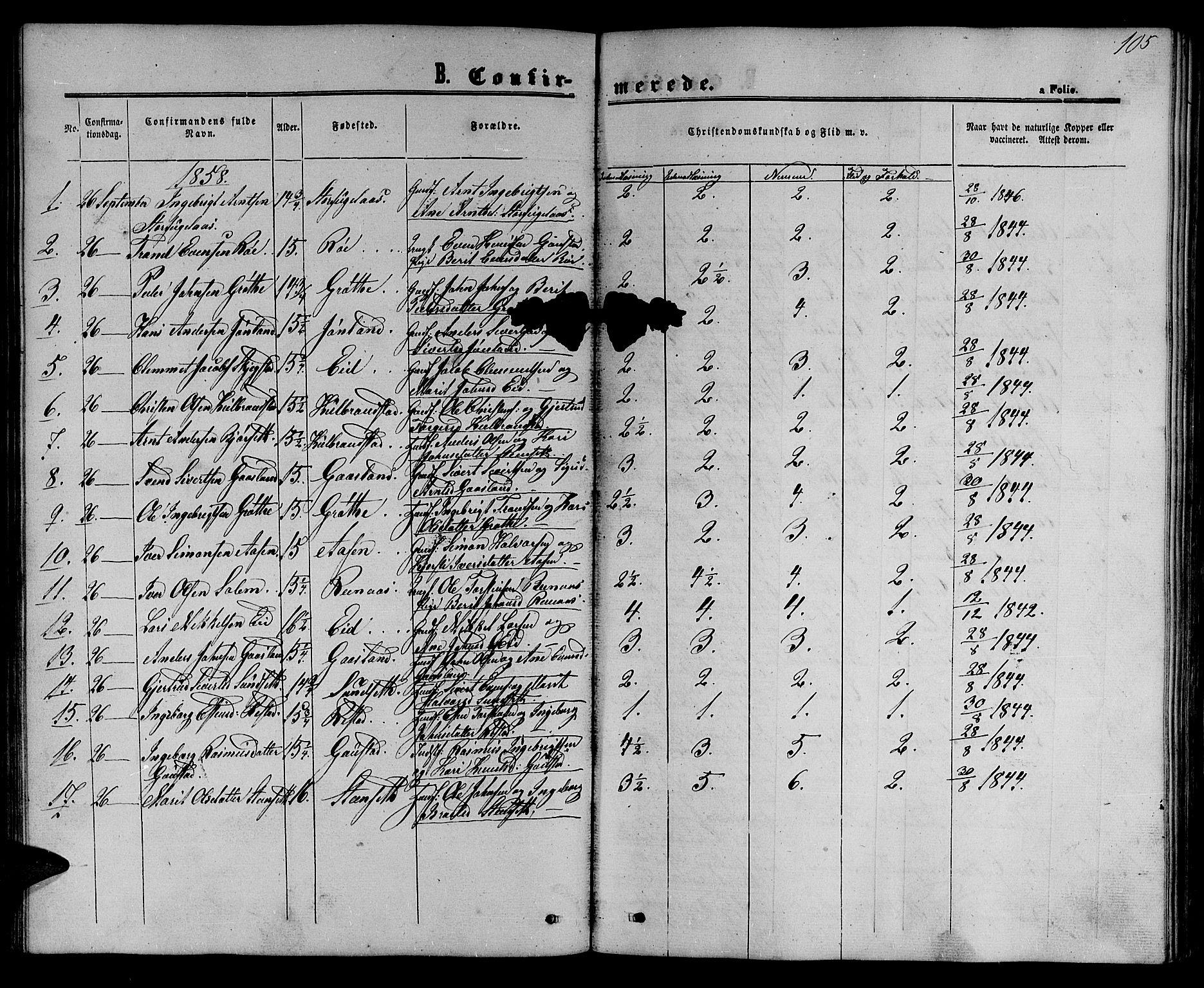 SAT, Ministerialprotokoller, klokkerbøker og fødselsregistre - Sør-Trøndelag, 694/L1131: Klokkerbok nr. 694C03, 1858-1886, s. 105