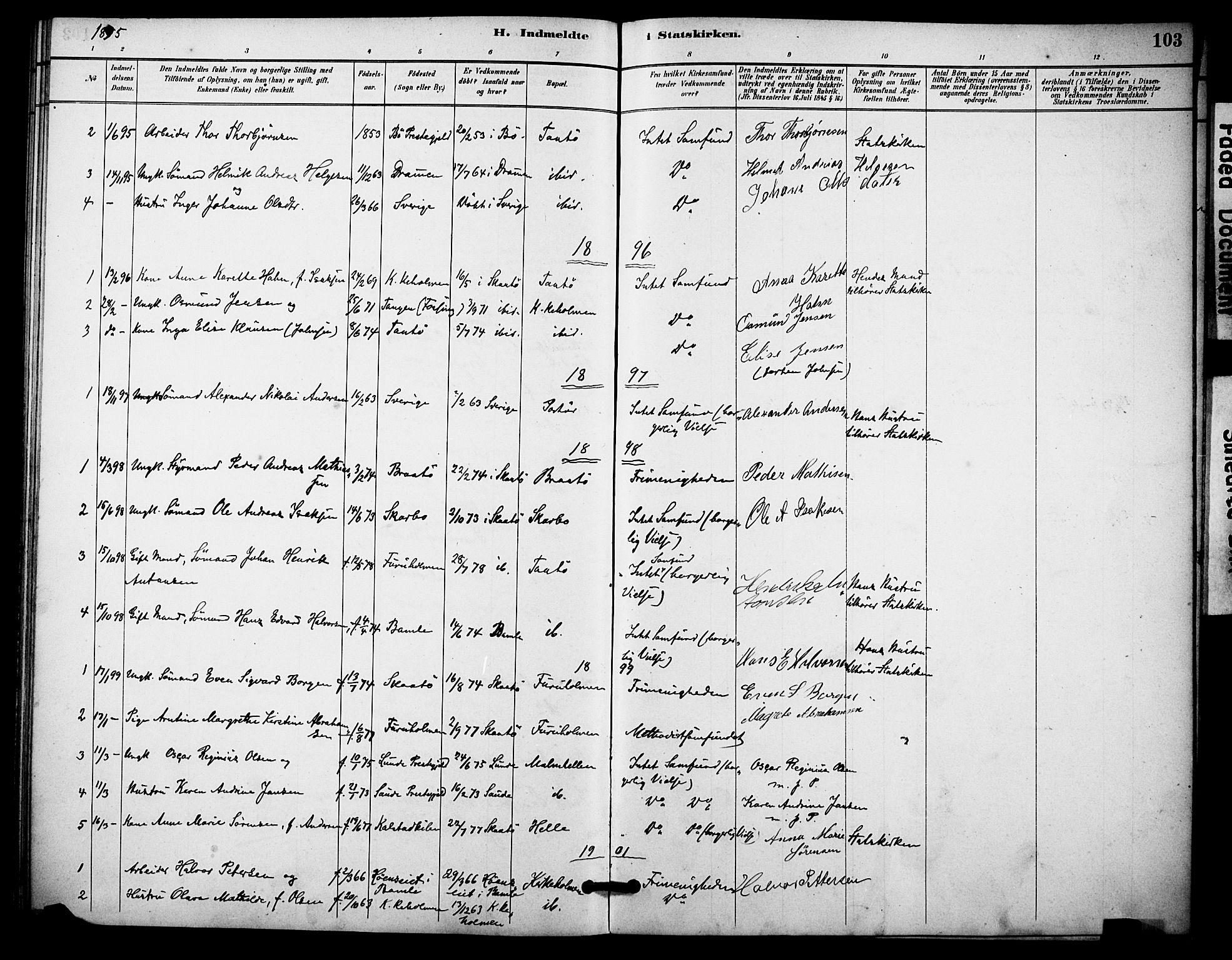 SAKO, Skåtøy kirkebøker, F/Fa/L0004: Ministerialbok nr. I 4, 1884-1900, s. 103