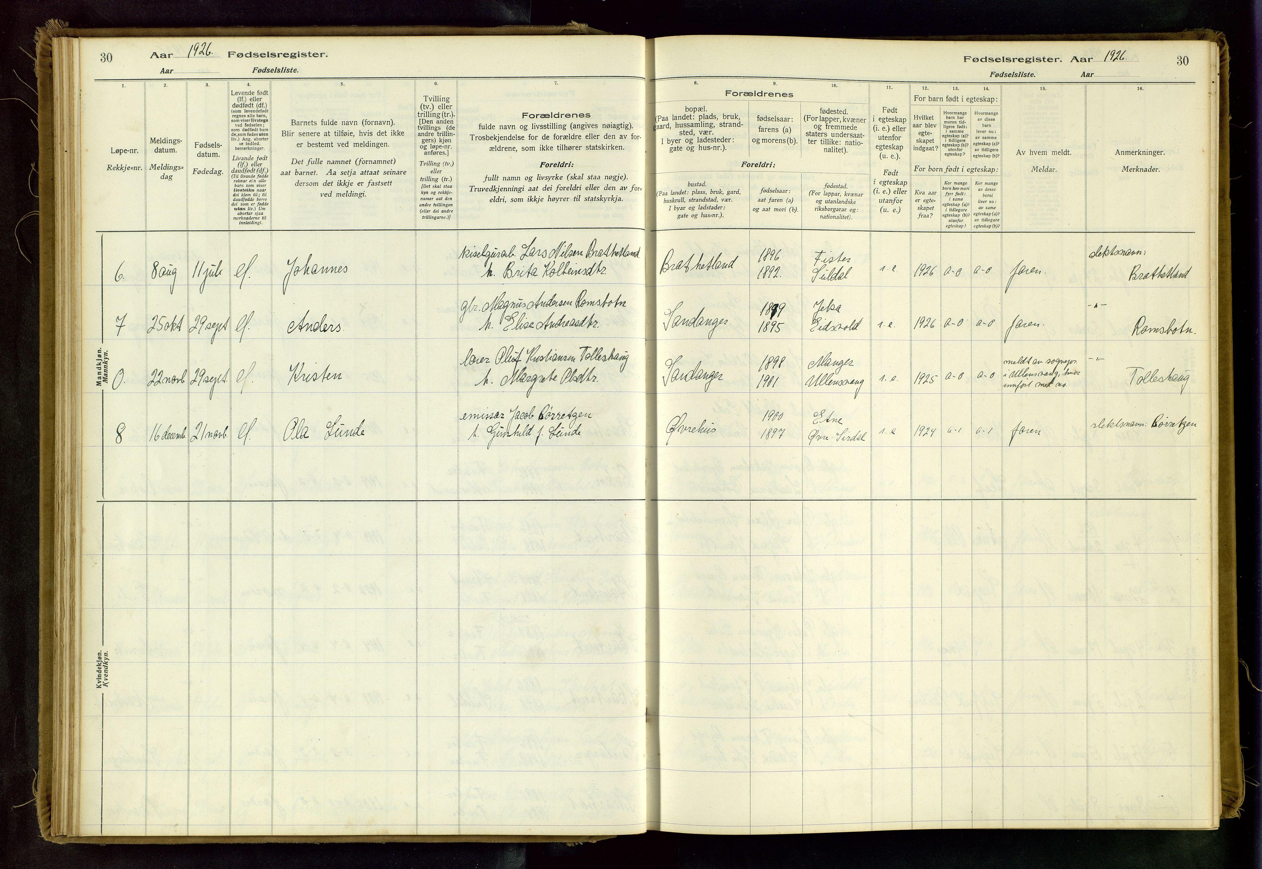 SAST, Hjelmeland sokneprestkontor, B/L0003: Fødselsregister nr. 3, 1916-1997, s. 30