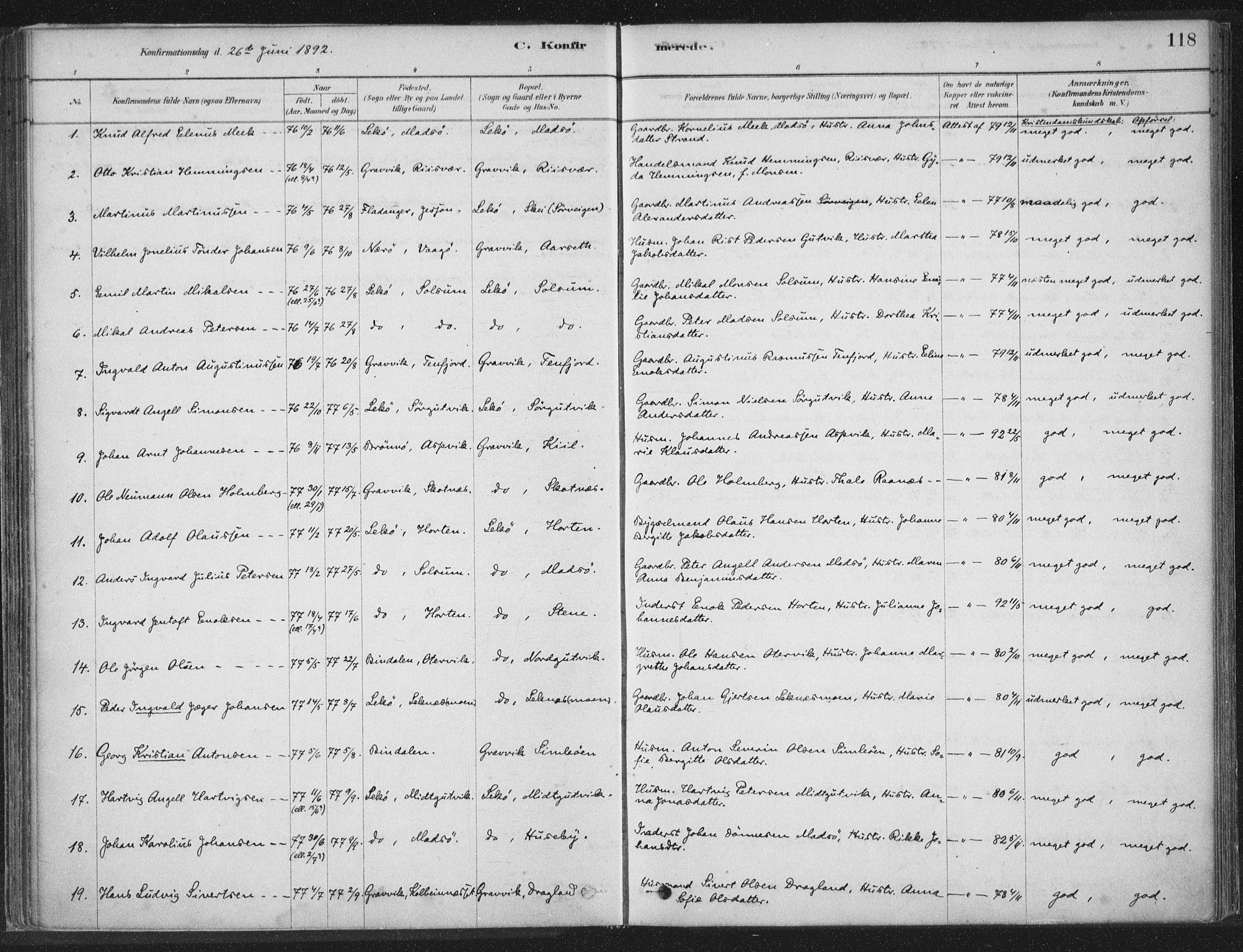 SAT, Ministerialprotokoller, klokkerbøker og fødselsregistre - Nord-Trøndelag, 788/L0697: Ministerialbok nr. 788A04, 1878-1902, s. 118
