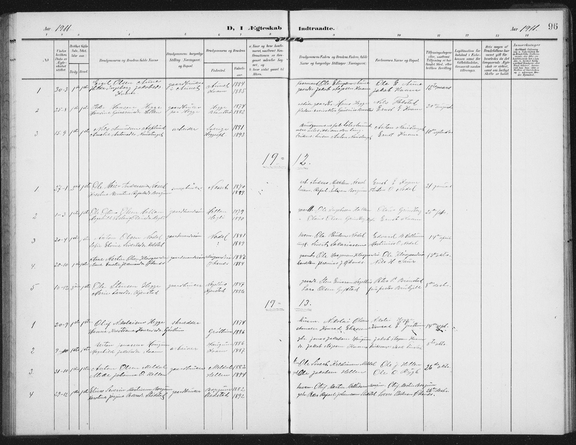 SAT, Ministerialprotokoller, klokkerbøker og fødselsregistre - Nord-Trøndelag, 747/L0460: Klokkerbok nr. 747C02, 1908-1939, s. 96