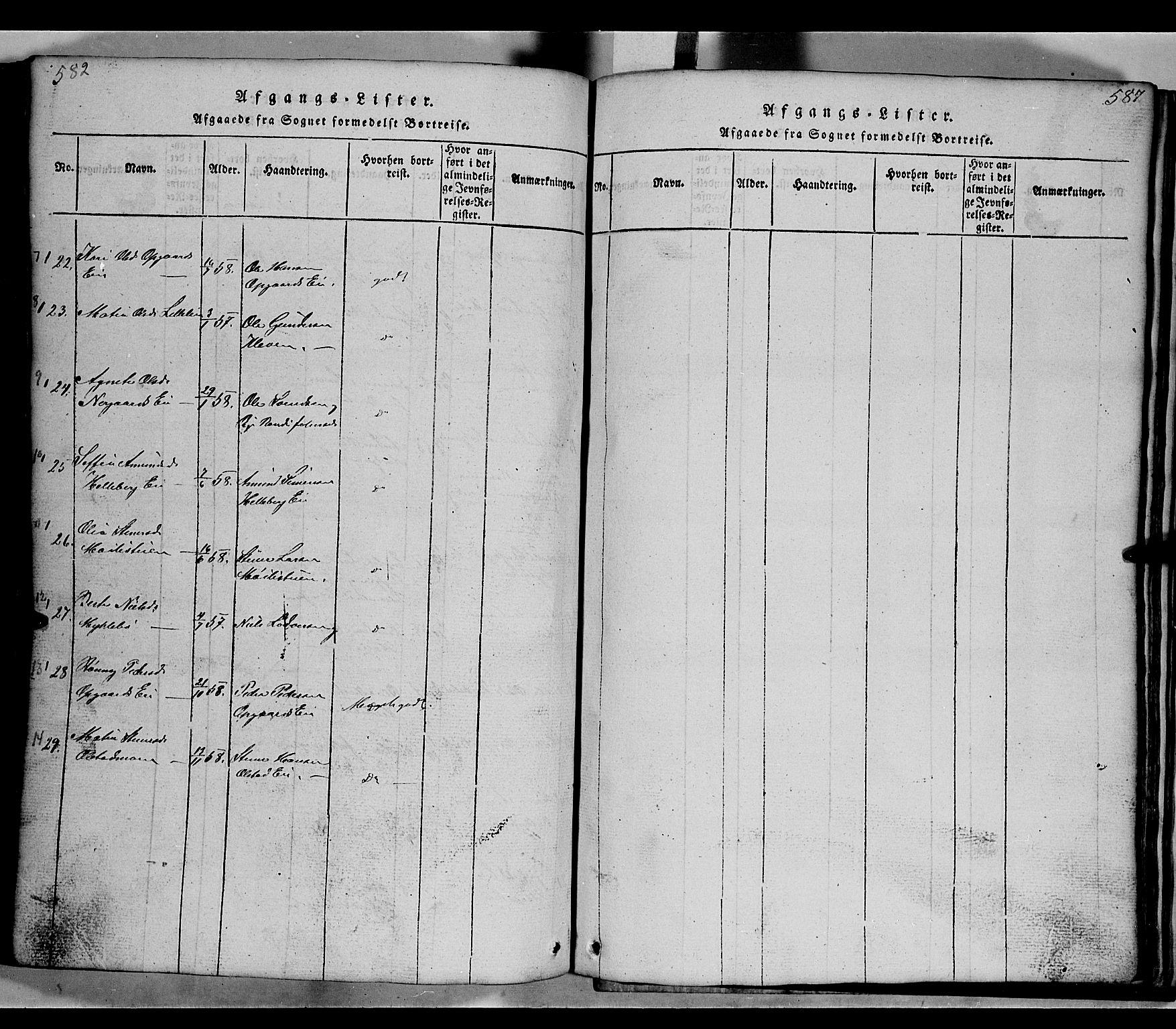 SAH, Gausdal prestekontor, Klokkerbok nr. 2, 1818-1874, s. 582-583