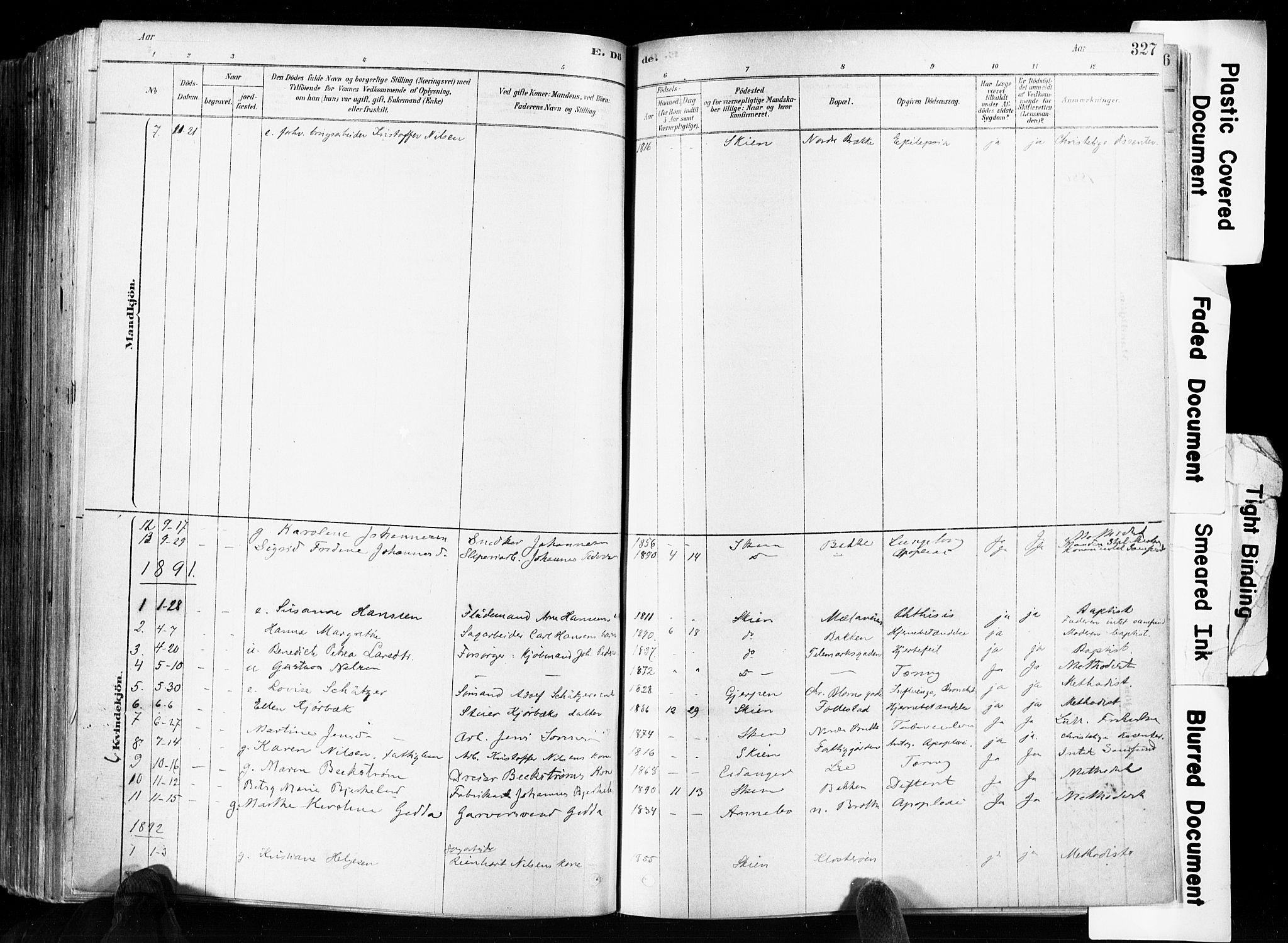 SAKO, Skien kirkebøker, F/Fa/L0009: Ministerialbok nr. 9, 1878-1890, s. 327