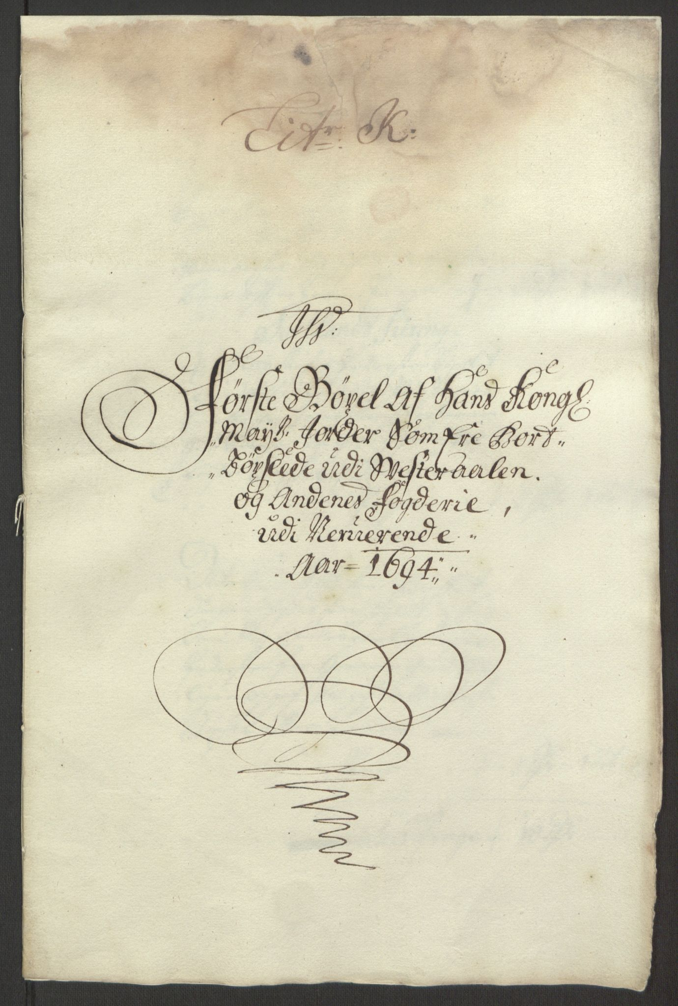 RA, Rentekammeret inntil 1814, Reviderte regnskaper, Fogderegnskap, R67/L4677: Fogderegnskap Vesterålen, Andenes og Lofoten, 1694-1695, s. 141