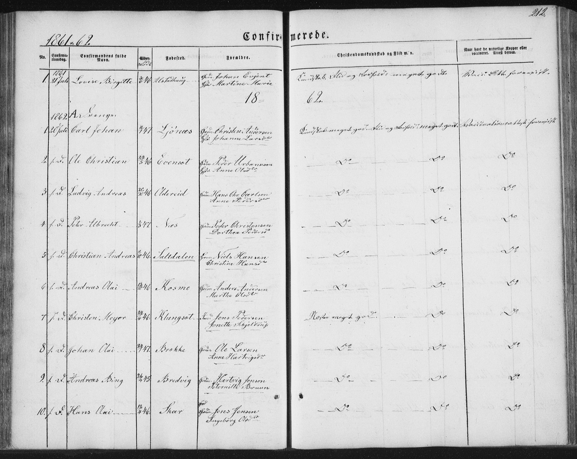 SAT, Ministerialprotokoller, klokkerbøker og fødselsregistre - Nordland, 852/L0738: Ministerialbok nr. 852A08, 1849-1865, s. 212