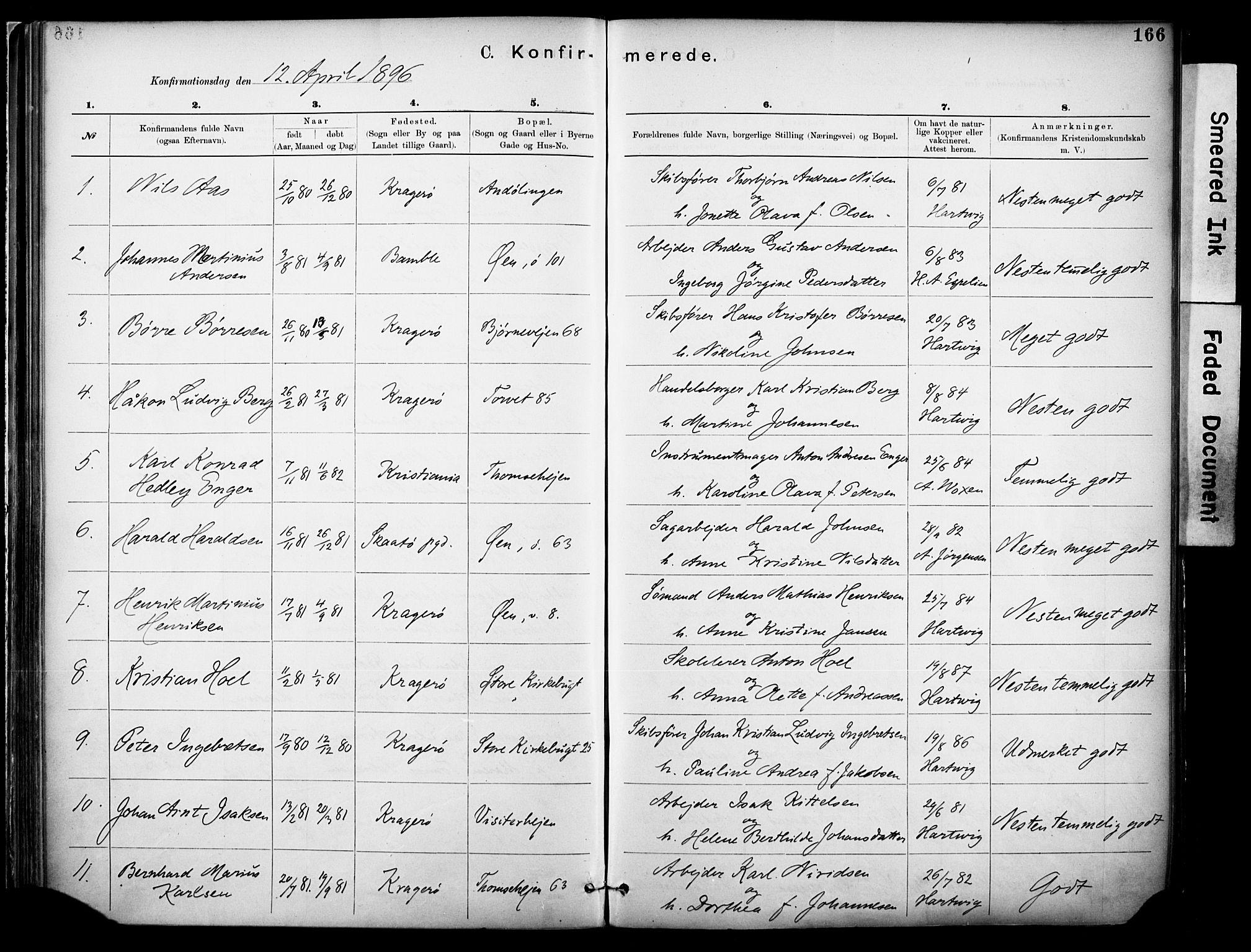 SAKO, Kragerø kirkebøker, F/Fa/L0012: Ministerialbok nr. I 12, 1880-1904, s. 166