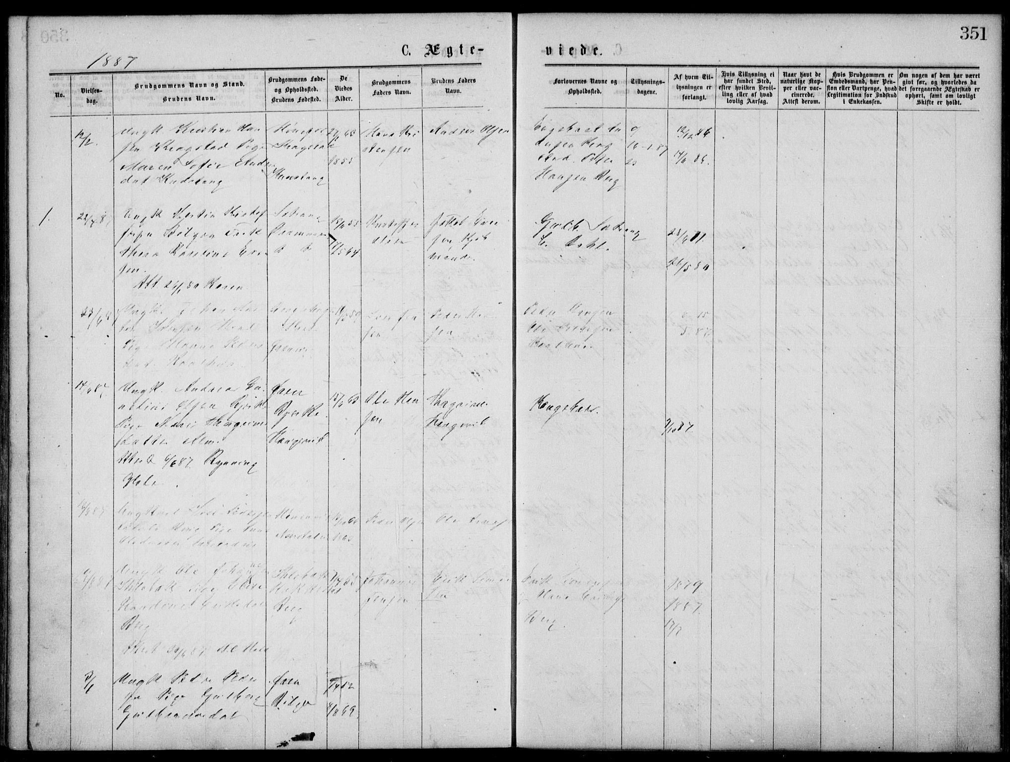 SAKO, Norderhov kirkebøker, G/Gb/L0001: Klokkerbok nr. II 1, 1876-1899, s. 351