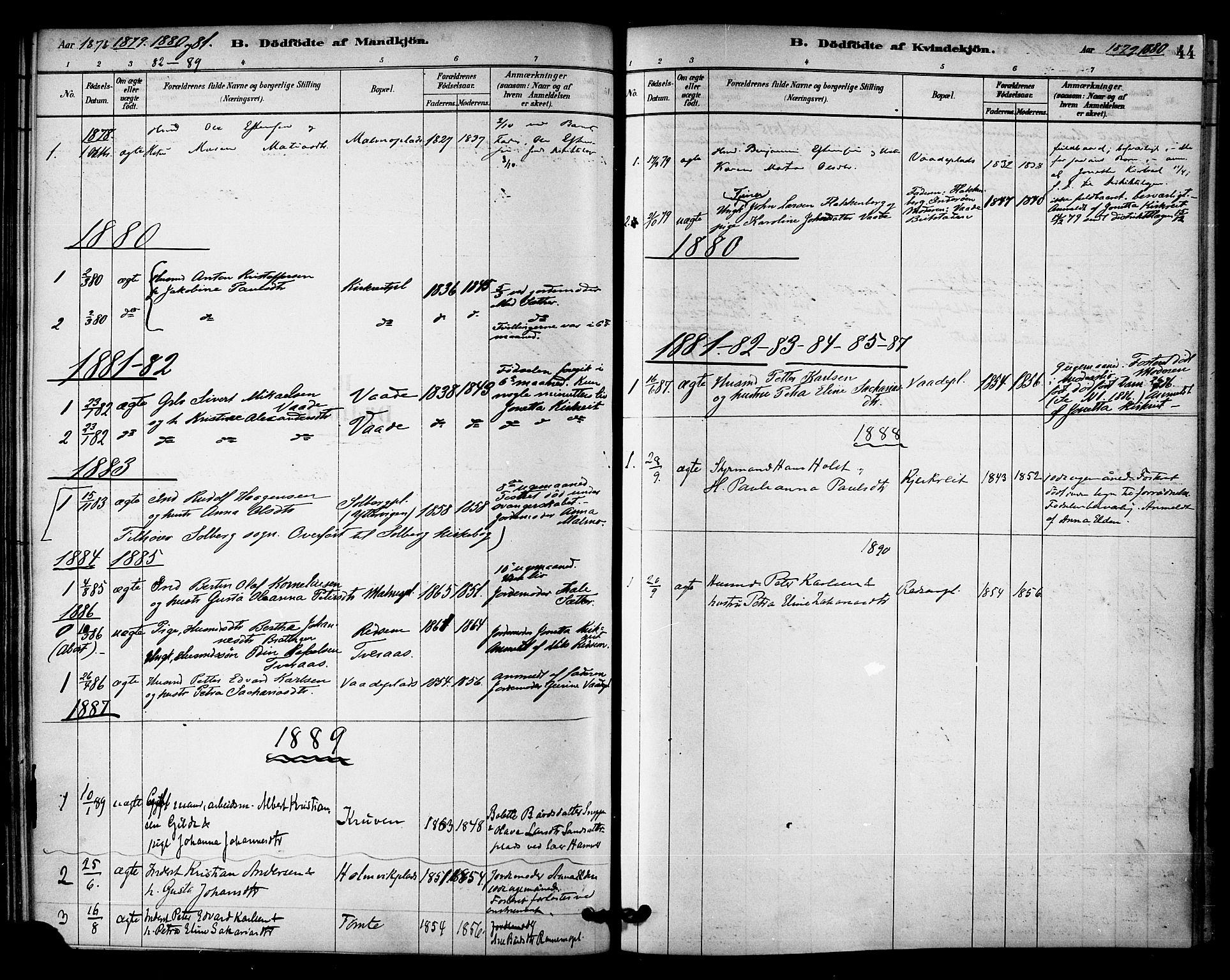 SAT, Ministerialprotokoller, klokkerbøker og fødselsregistre - Nord-Trøndelag, 745/L0429: Ministerialbok nr. 745A01, 1878-1894, s. 44