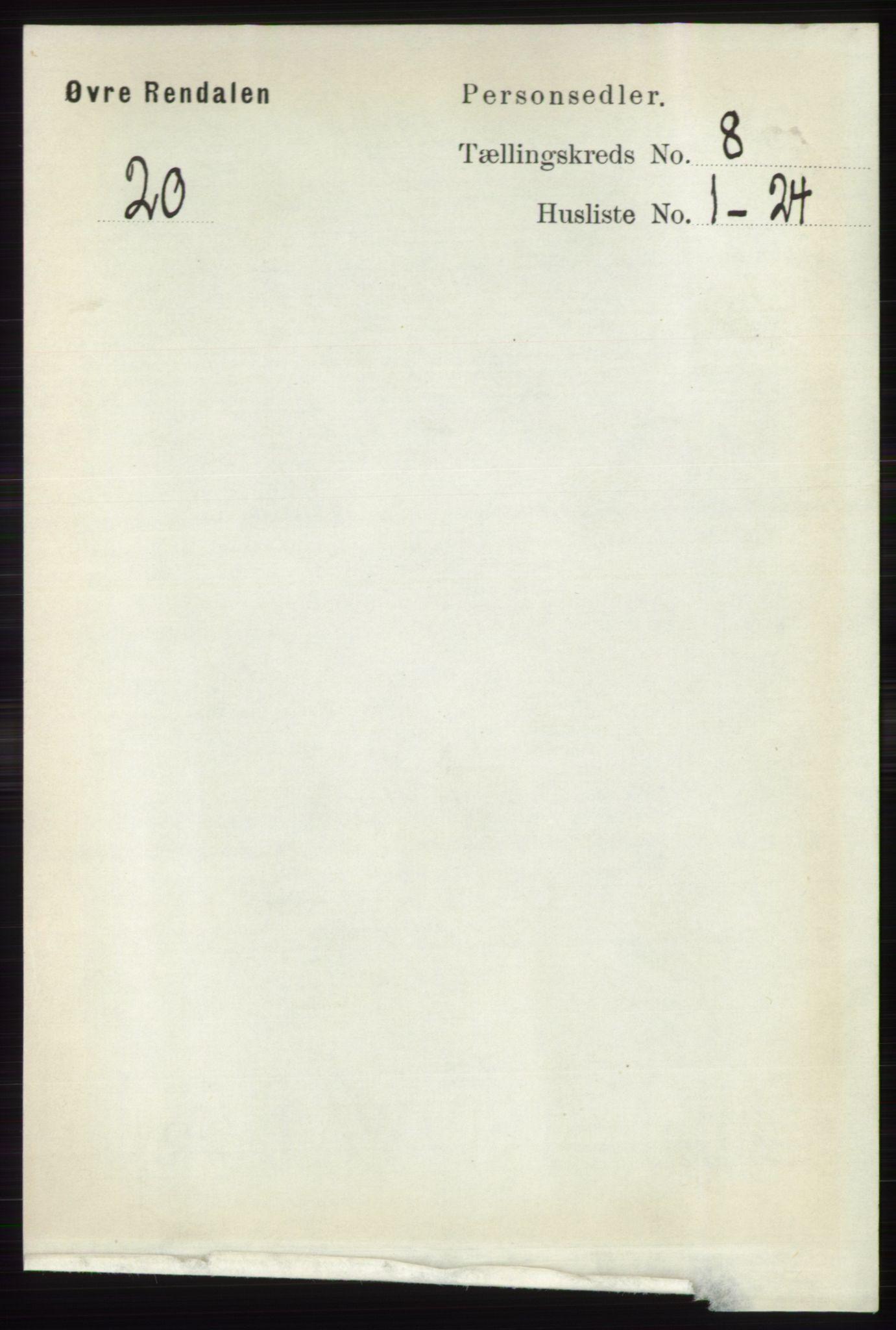 RA, Folketelling 1891 for 0433 Øvre Rendal herred, 1891, s. 1999