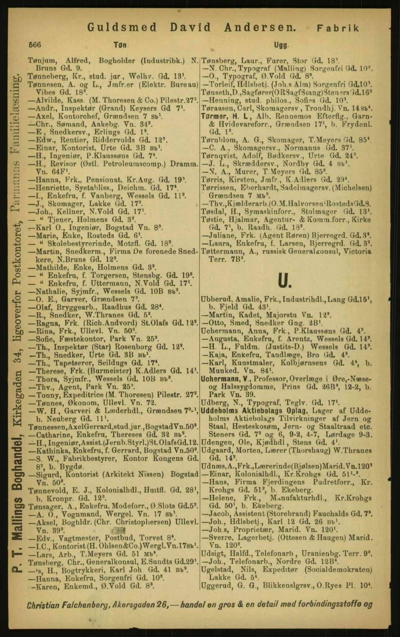 PUBL, Kristiania/Oslo adressebok, 1897, s. 566