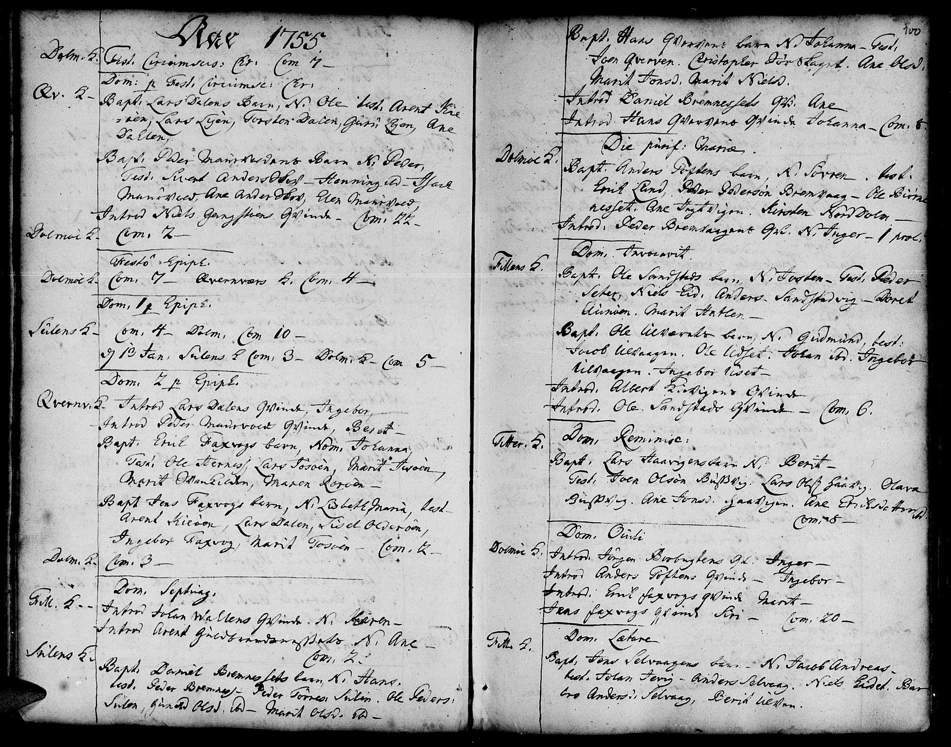 SAT, Ministerialprotokoller, klokkerbøker og fødselsregistre - Sør-Trøndelag, 634/L0525: Ministerialbok nr. 634A01, 1736-1775, s. 100