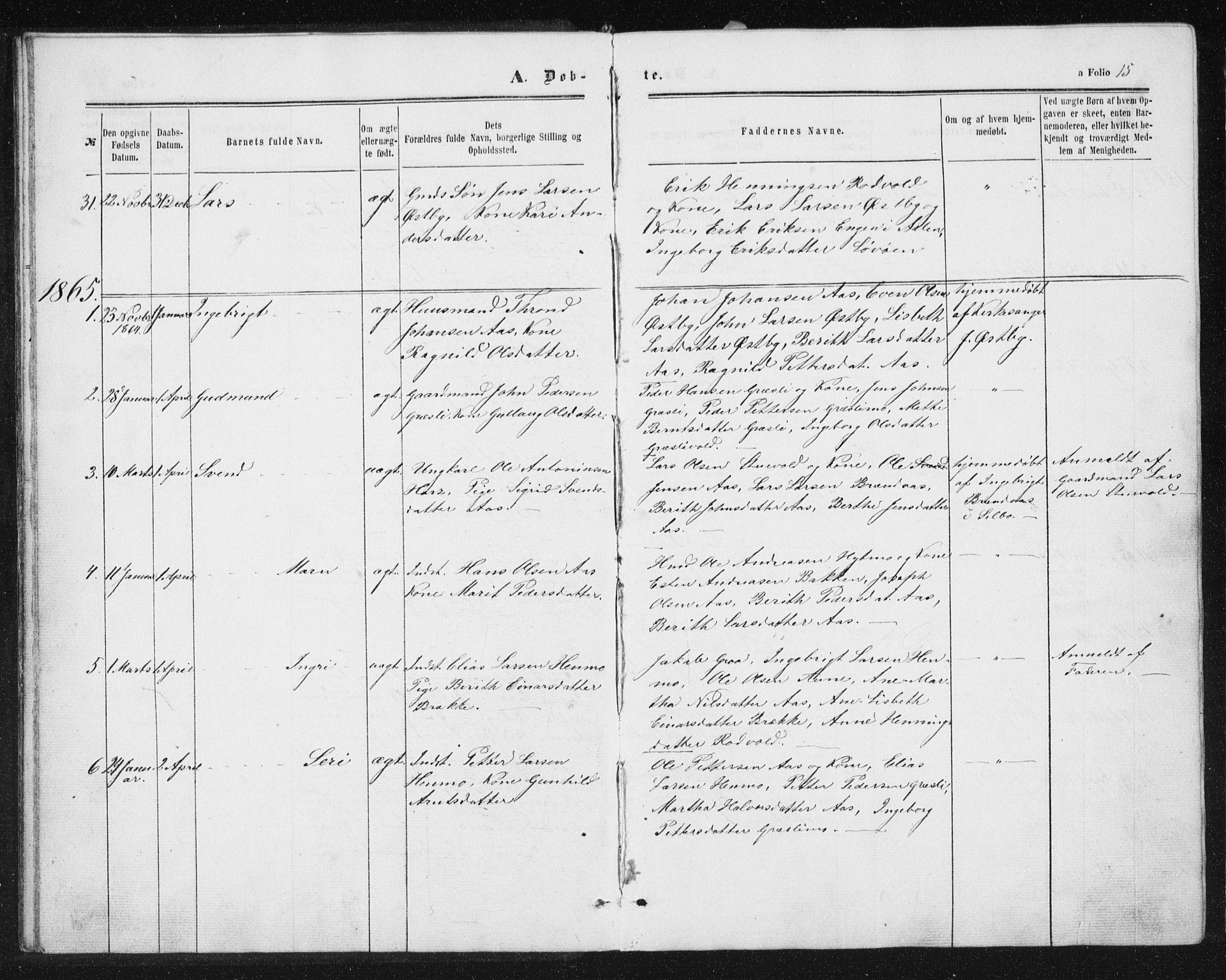 SAT, Ministerialprotokoller, klokkerbøker og fødselsregistre - Sør-Trøndelag, 698/L1166: Klokkerbok nr. 698C03, 1861-1887, s. 15