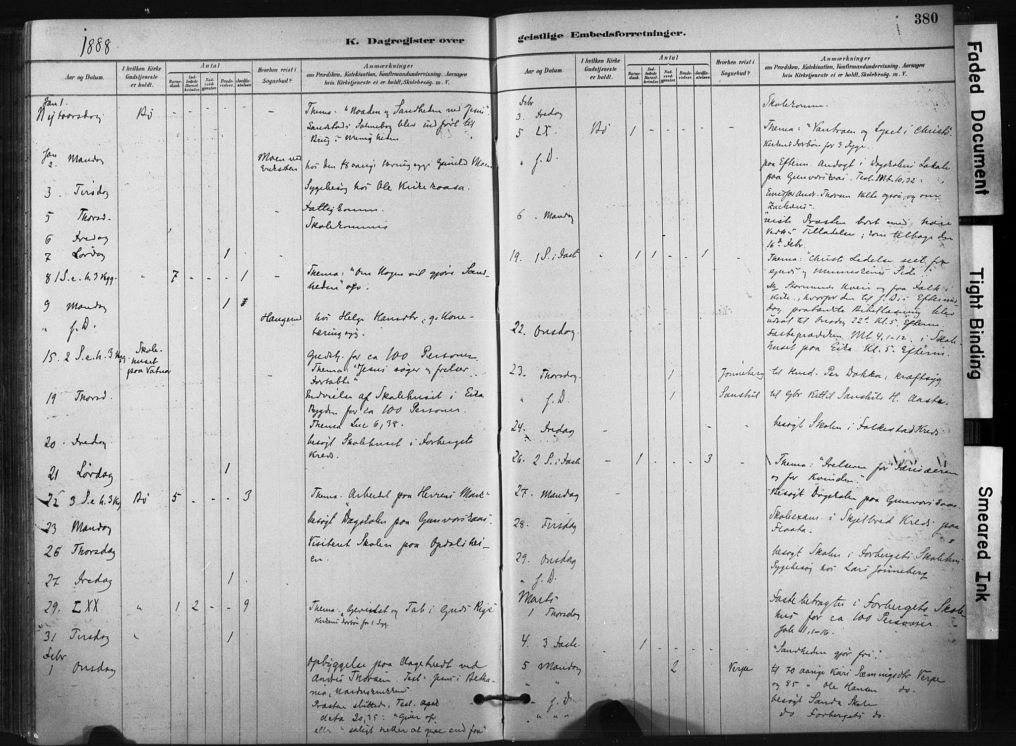 SAKO, Bø kirkebøker, F/Fa/L0010: Ministerialbok nr. 10, 1880-1892, s. 380