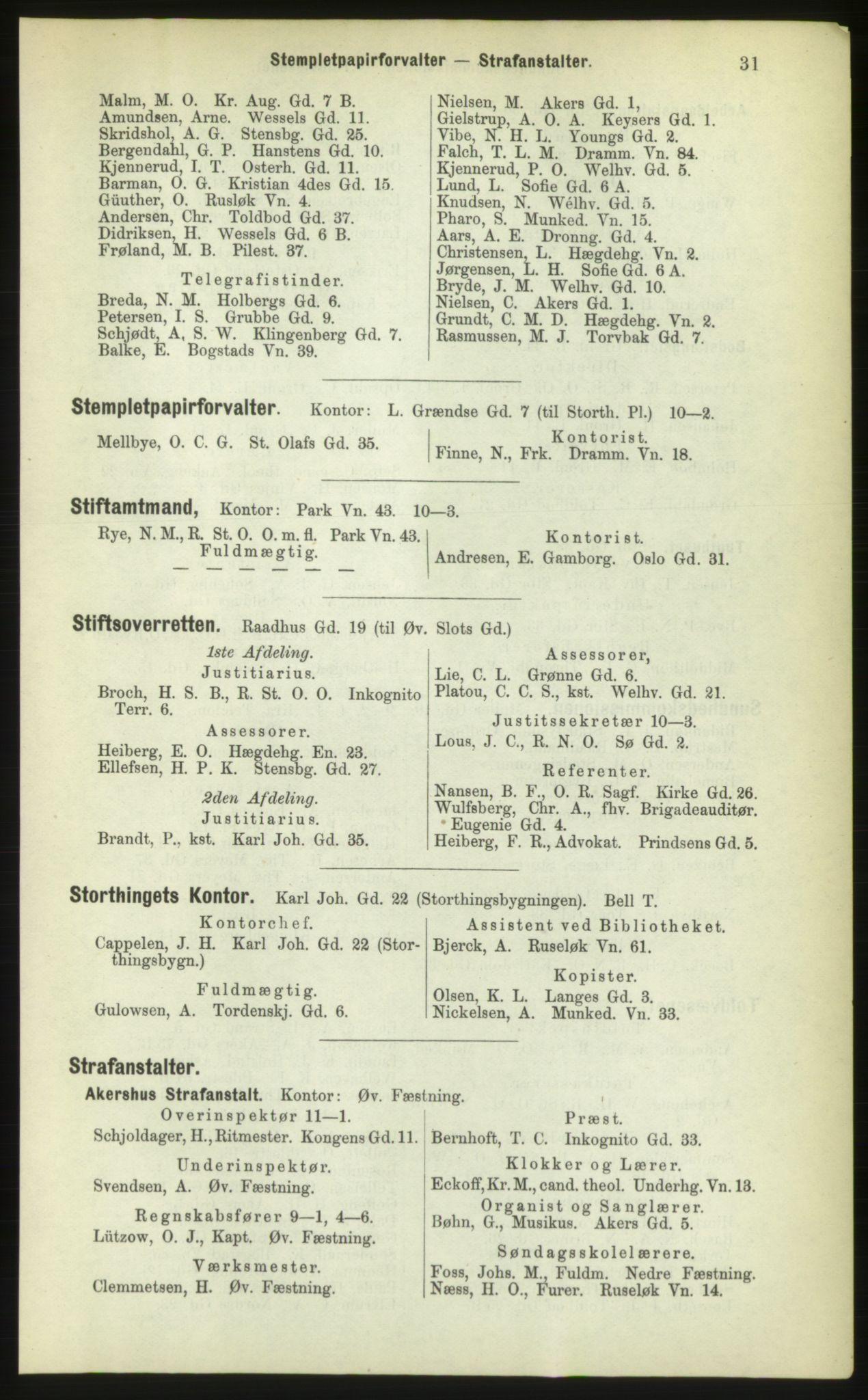 PUBL, Kristiania/Oslo adressebok, 1883, s. 31