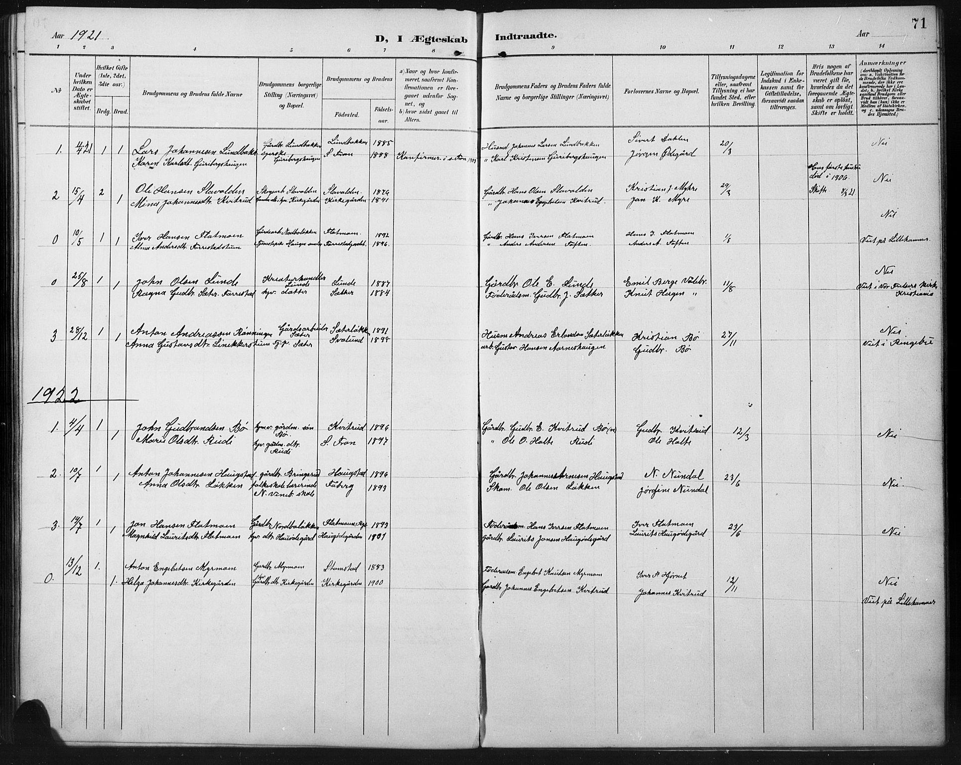 SAH, Ringebu prestekontor, Klokkerbok nr. 8, 1890-1922, s. 71