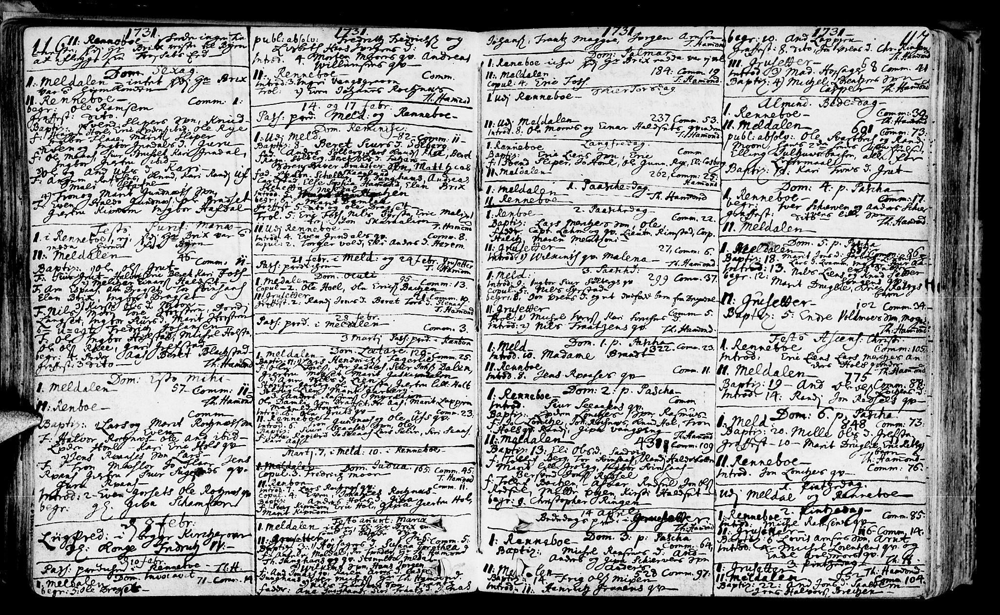 SAT, Ministerialprotokoller, klokkerbøker og fødselsregistre - Sør-Trøndelag, 672/L0850: Ministerialbok nr. 672A03, 1725-1751, s. 116-117