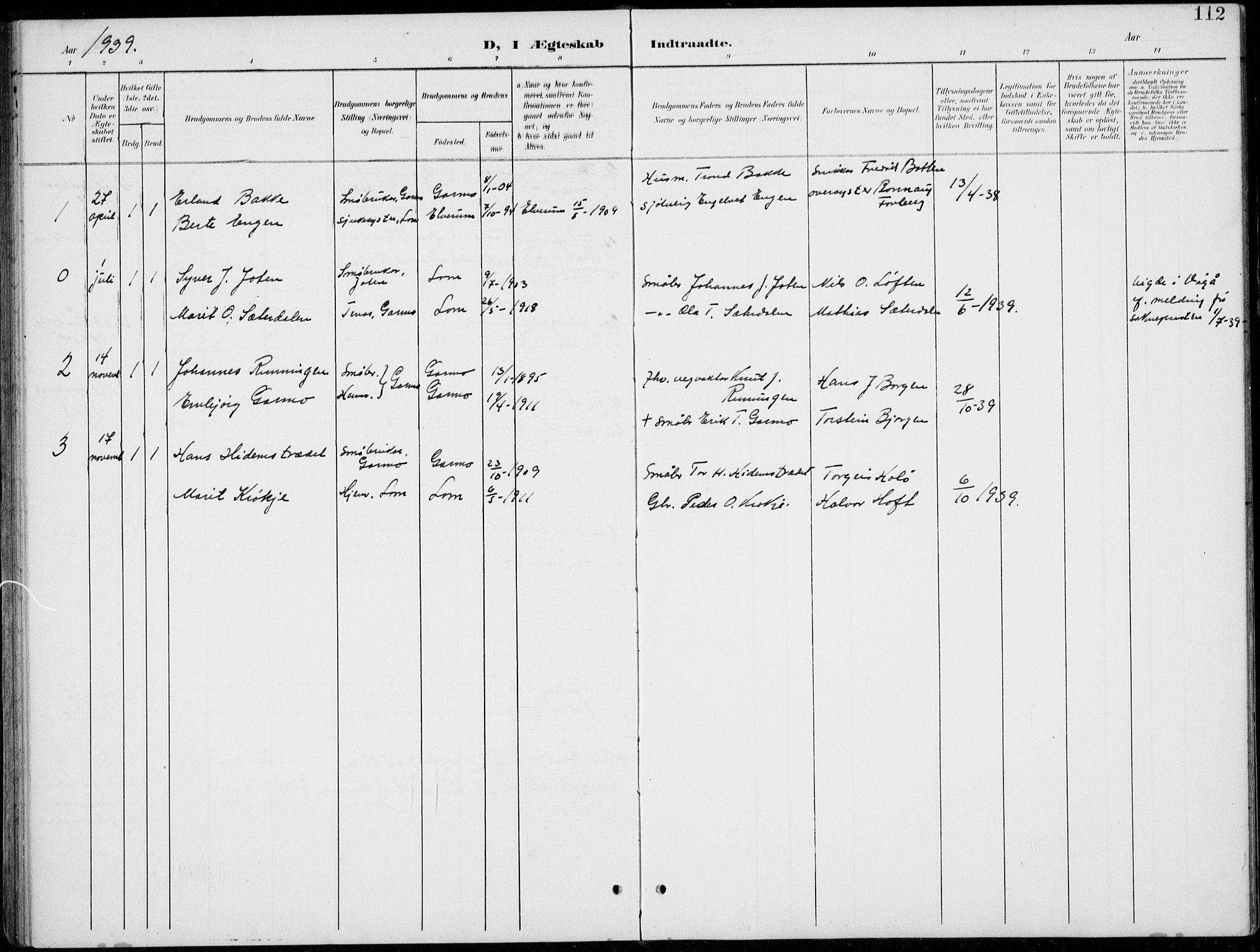 SAH, Lom prestekontor, L/L0006: Klokkerbok nr. 6, 1901-1939, s. 112