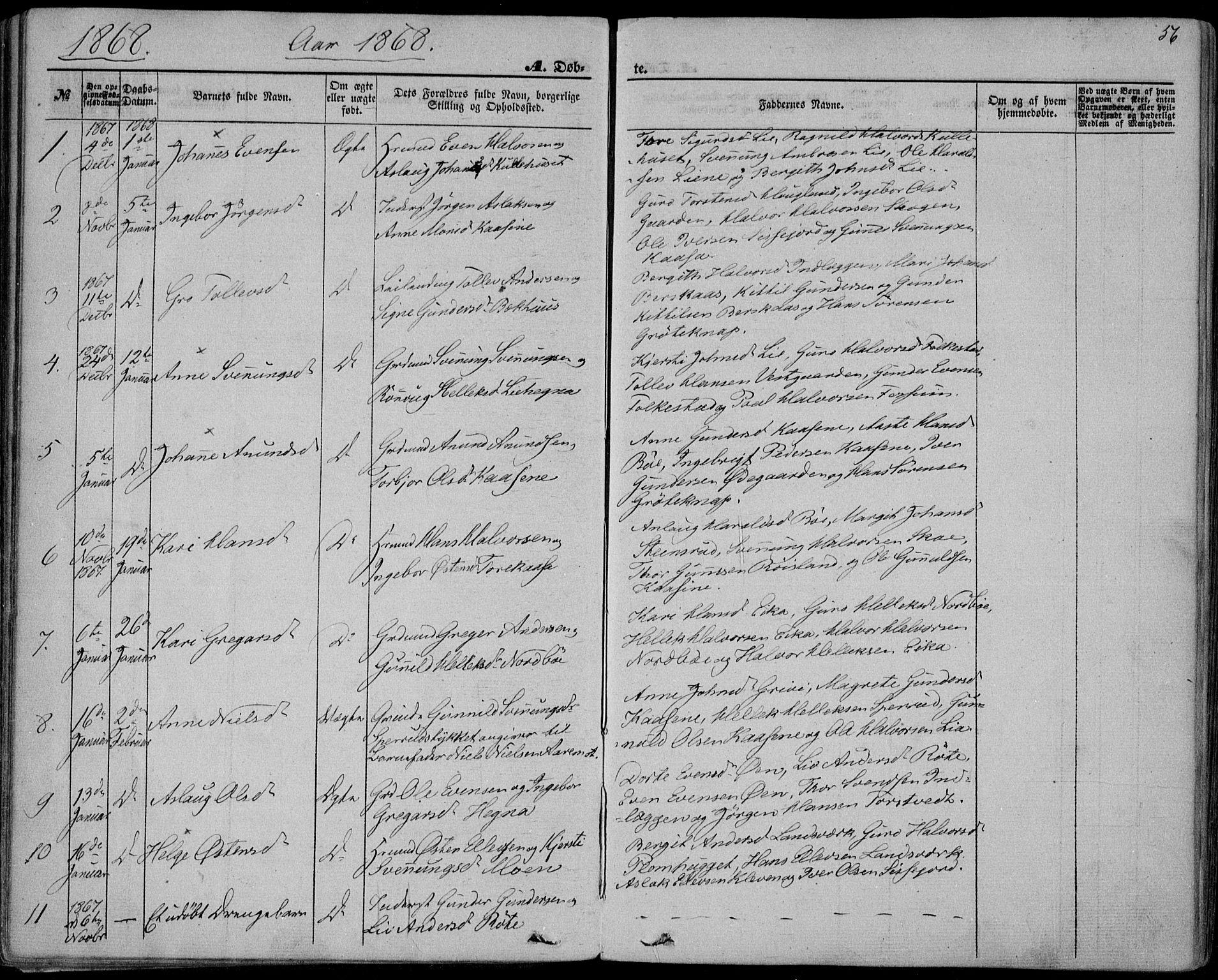 SAKO, Bø kirkebøker, F/Fa/L0009: Ministerialbok nr. 9, 1862-1879, s. 56