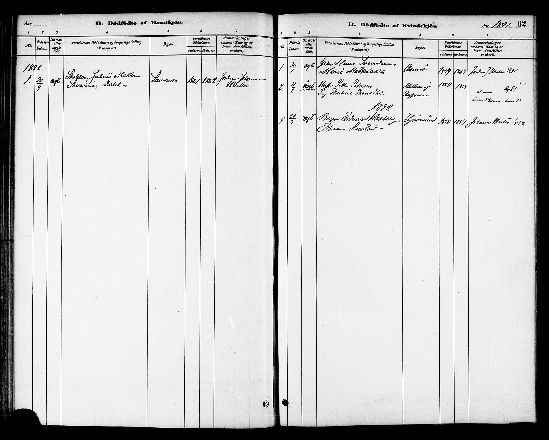 SAT, Ministerialprotokoller, klokkerbøker og fødselsregistre - Sør-Trøndelag, 654/L0663: Ministerialbok nr. 654A01, 1880-1894, s. 62