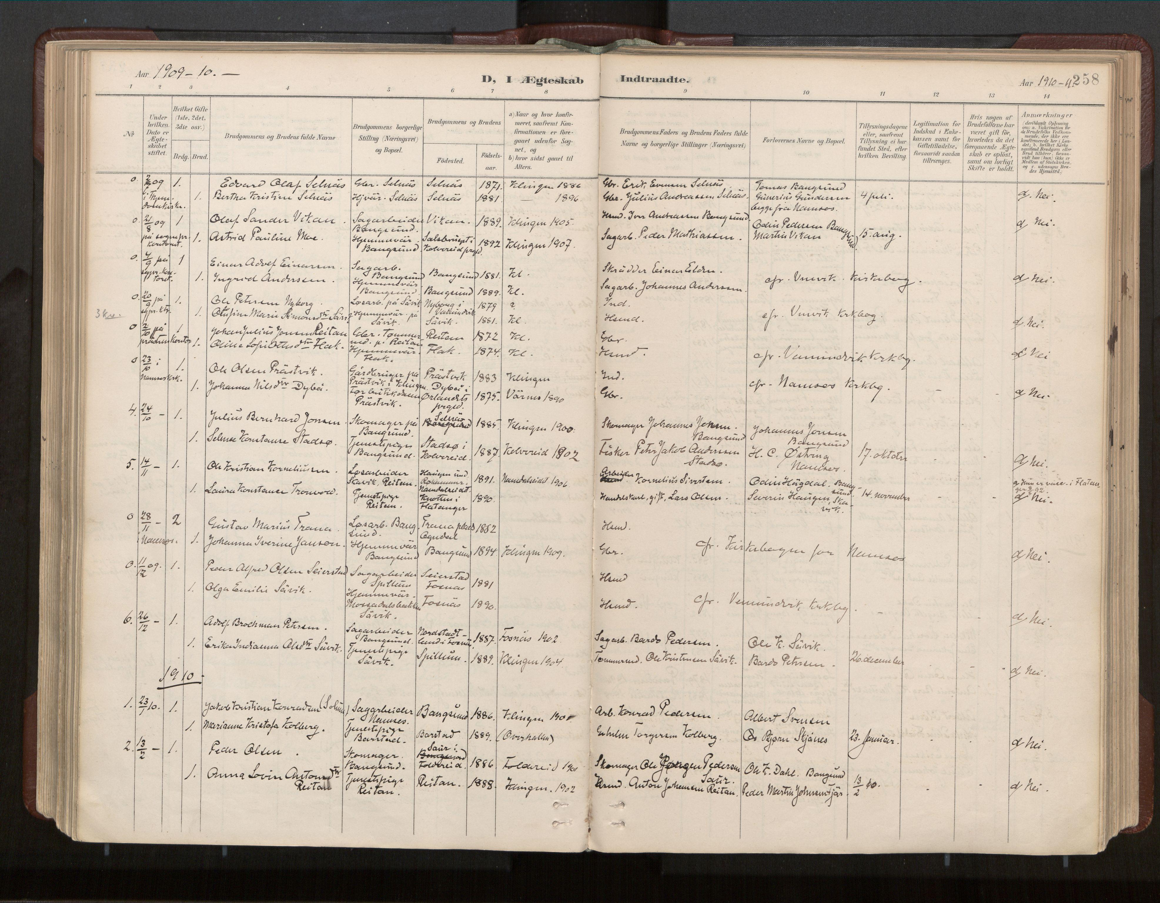SAT, Ministerialprotokoller, klokkerbøker og fødselsregistre - Nord-Trøndelag, 770/L0589: Ministerialbok nr. 770A03, 1887-1929, s. 258
