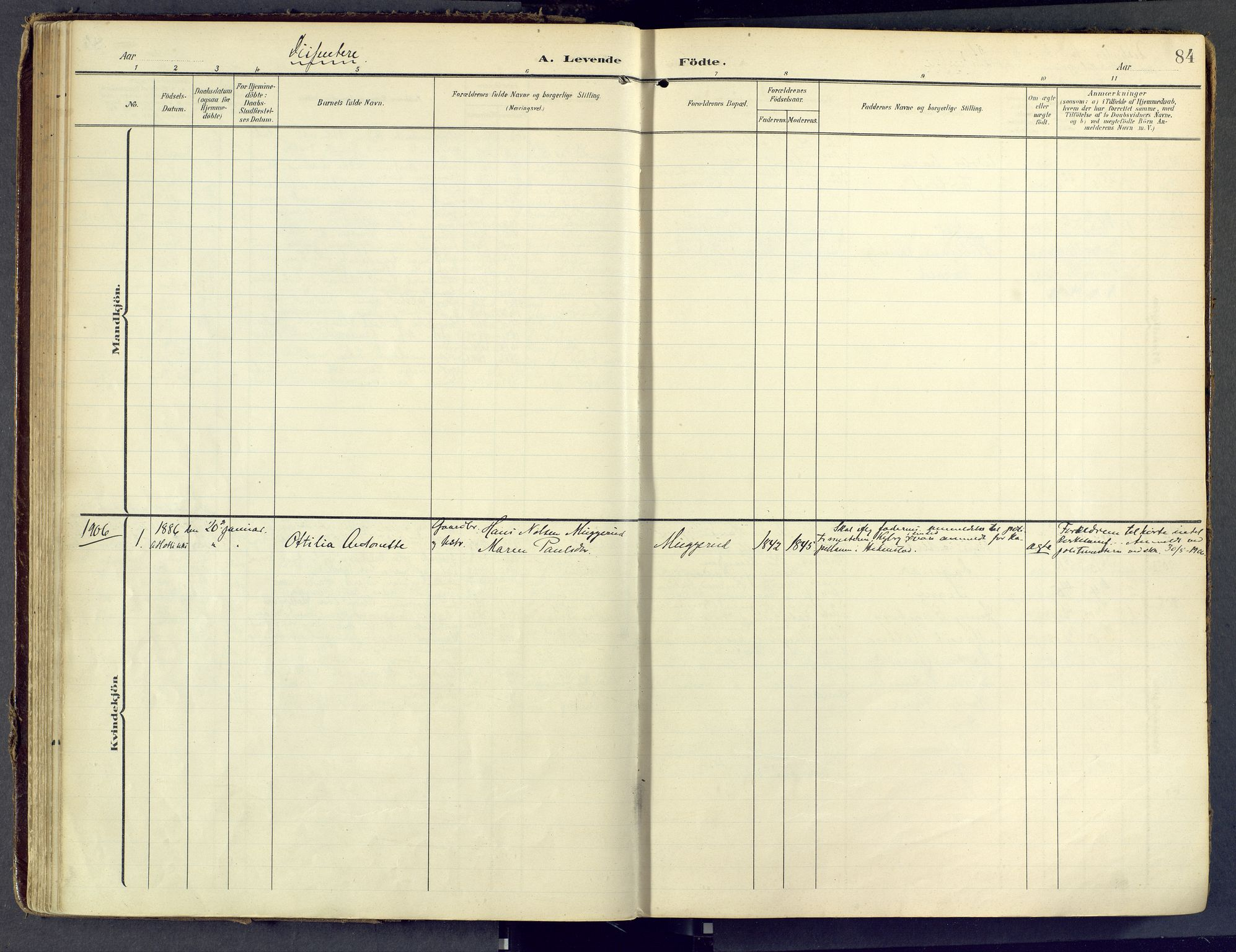SAKO, Sandsvær kirkebøker, F/Fd/L0002: Ministerialbok nr. IV 2, 1906-1943, s. 84
