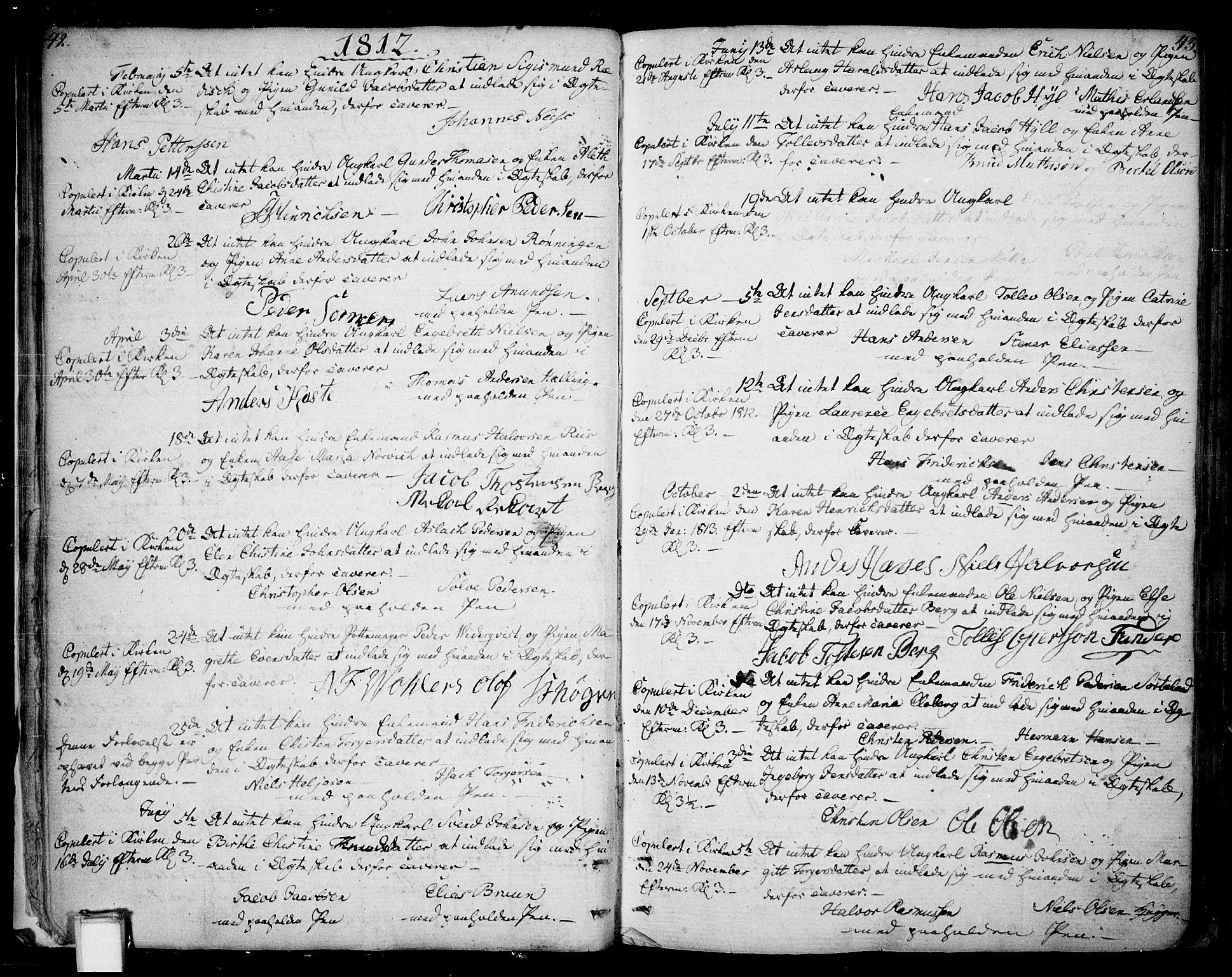 SAKO, Skien kirkebøker, F/Fa/L0004: Ministerialbok nr. 4, 1792-1814, s. 42-43