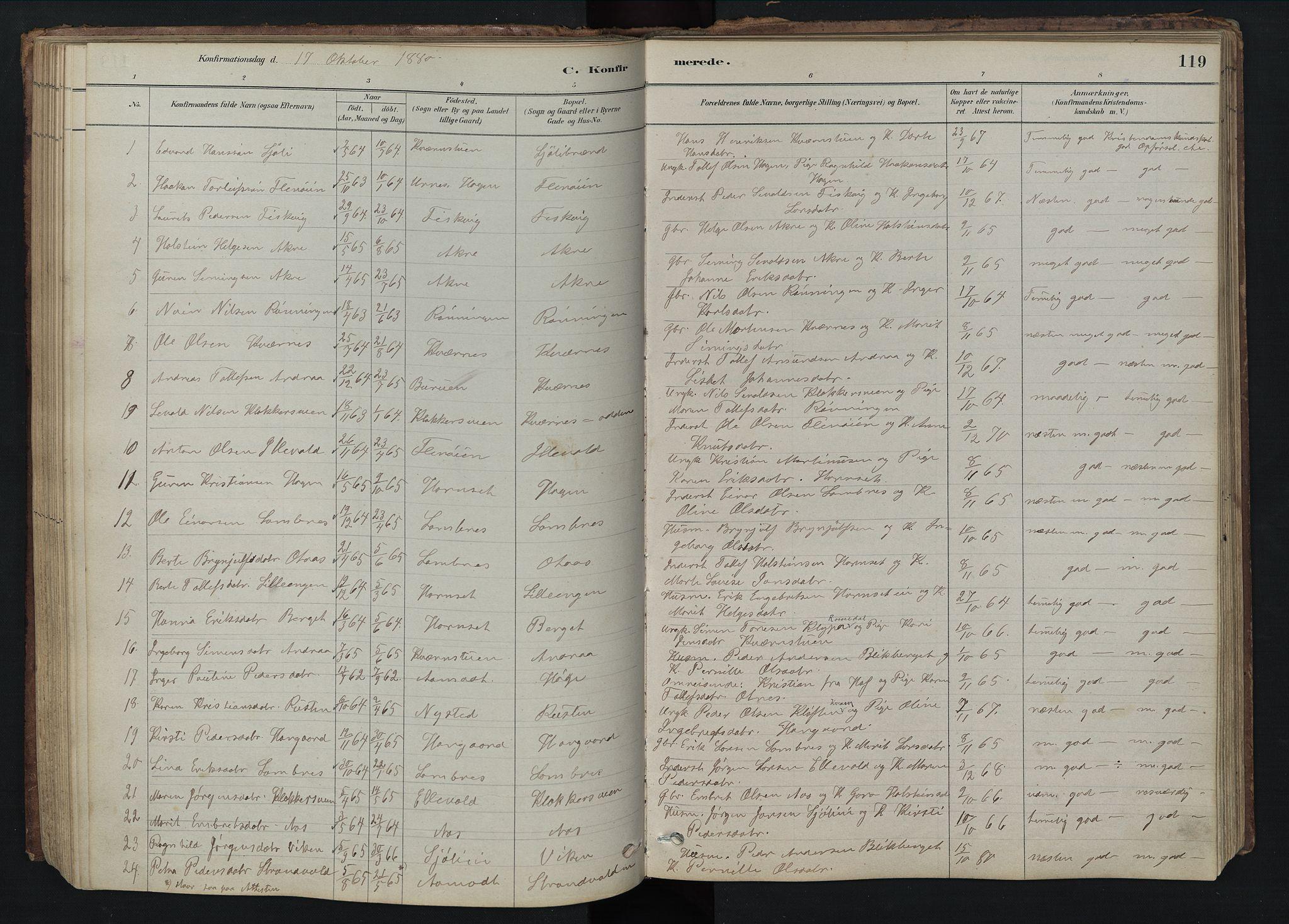 SAH, Rendalen prestekontor, H/Ha/Hab/L0009: Klokkerbok nr. 9, 1879-1902, s. 119