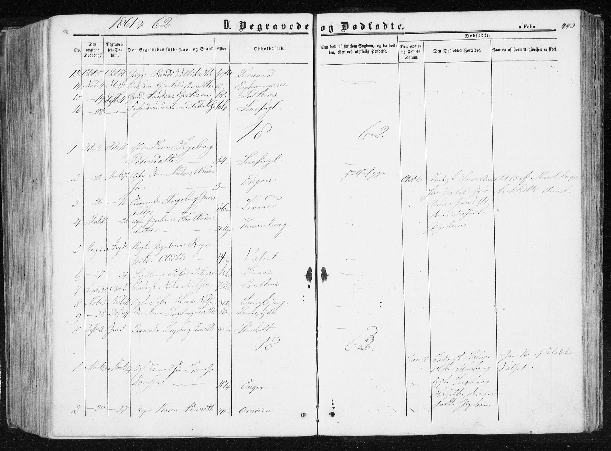 SAT, Ministerialprotokoller, klokkerbøker og fødselsregistre - Sør-Trøndelag, 612/L0377: Ministerialbok nr. 612A09, 1859-1877, s. 443