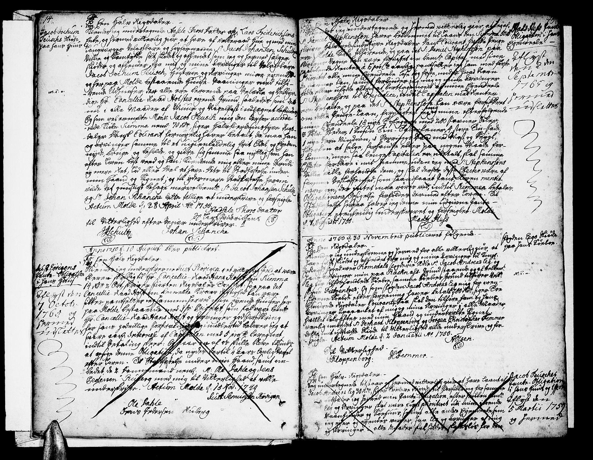 SAT, Molde byfogd, 2/2C/L0001: Pantebok nr. 1, 1748-1823, s. 14-15