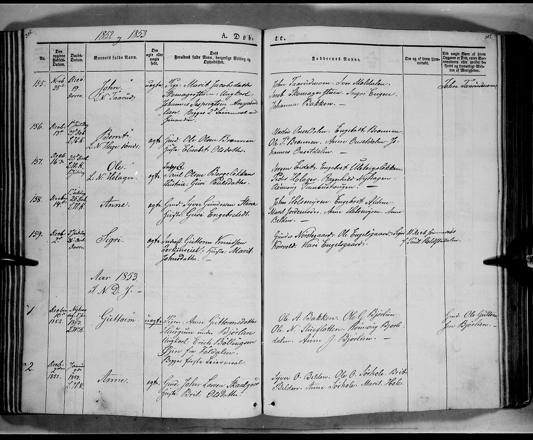 SAH, Lesja prestekontor, Ministerialbok nr. 6A, 1843-1854, s. 306-307