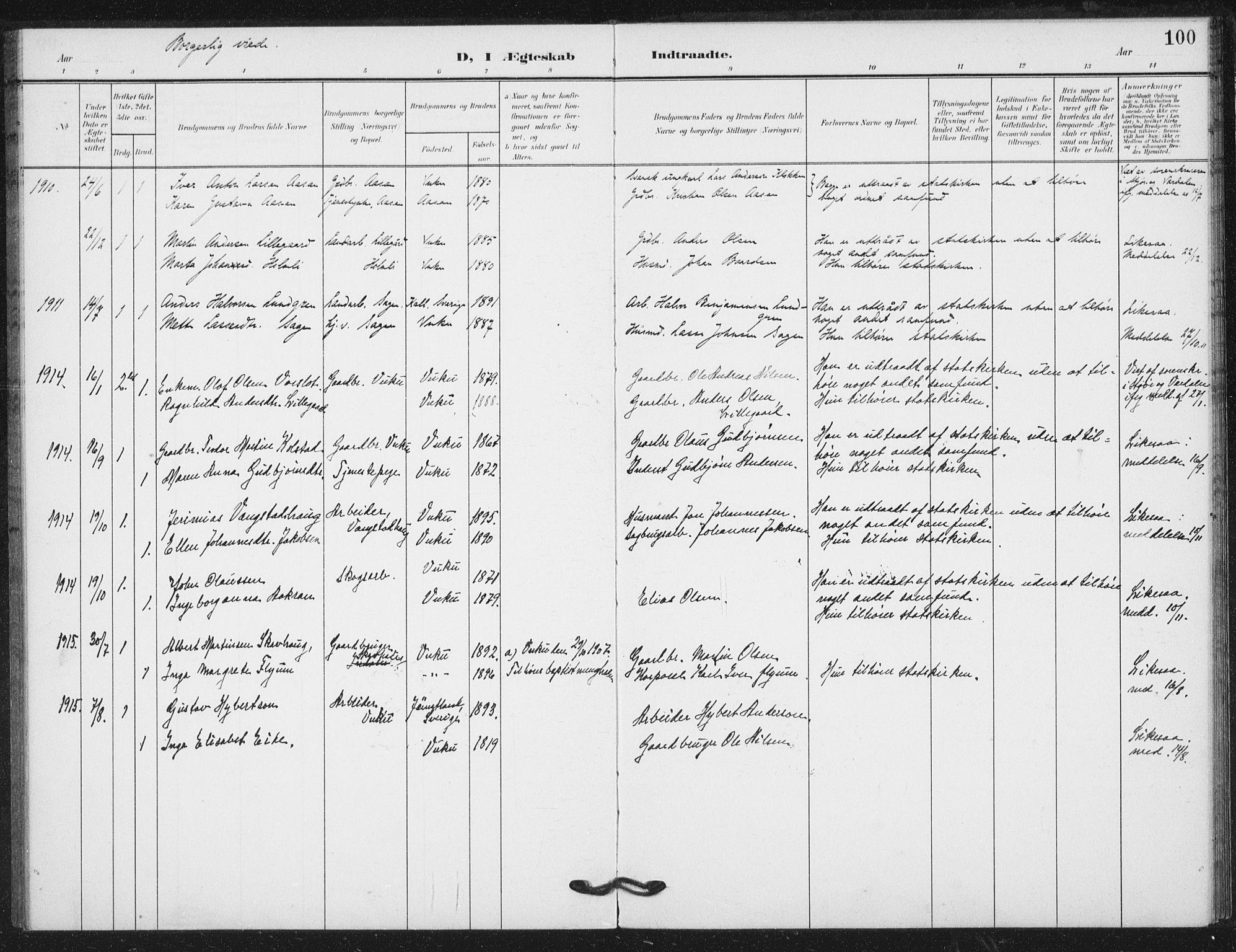 SAT, Ministerialprotokoller, klokkerbøker og fødselsregistre - Nord-Trøndelag, 724/L0264: Ministerialbok nr. 724A02, 1908-1915, s. 100